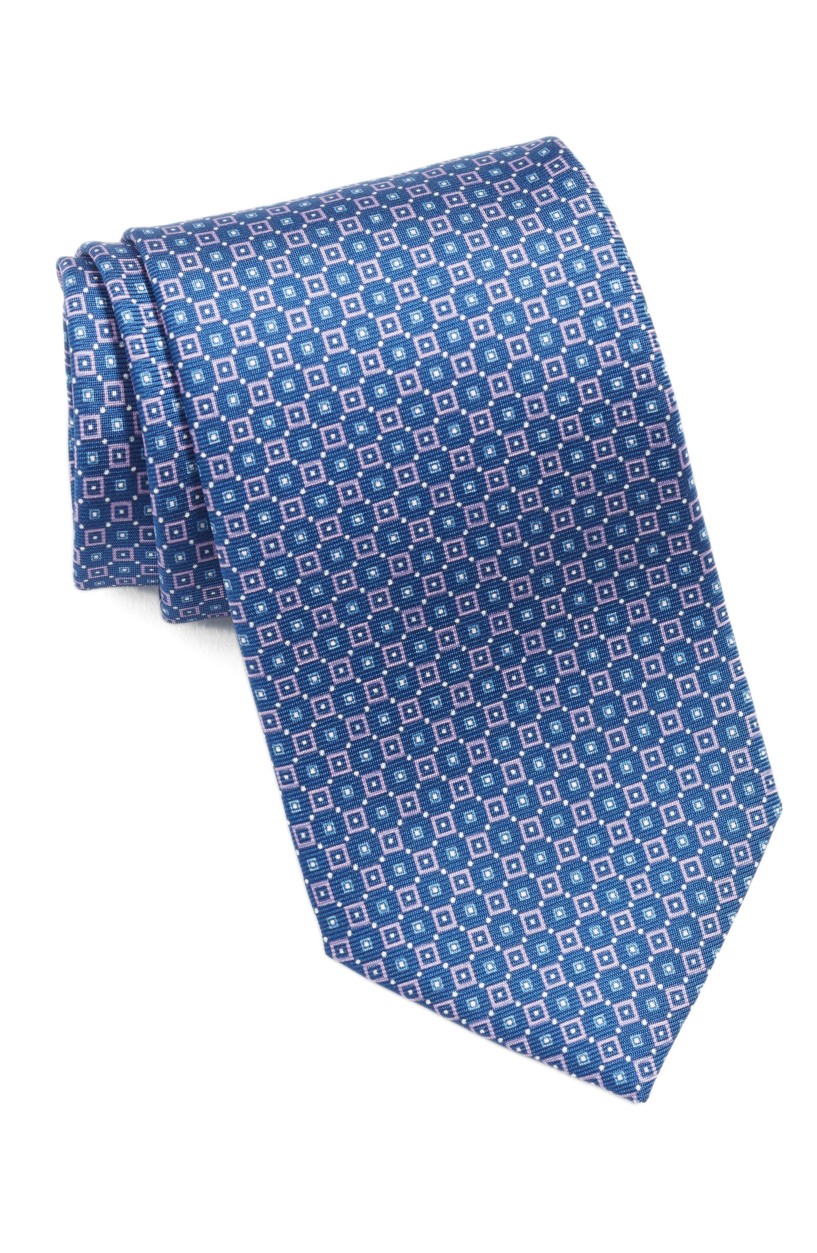 Geometric Silk Tie,                             Main thumbnail 1, color,                             Lilac