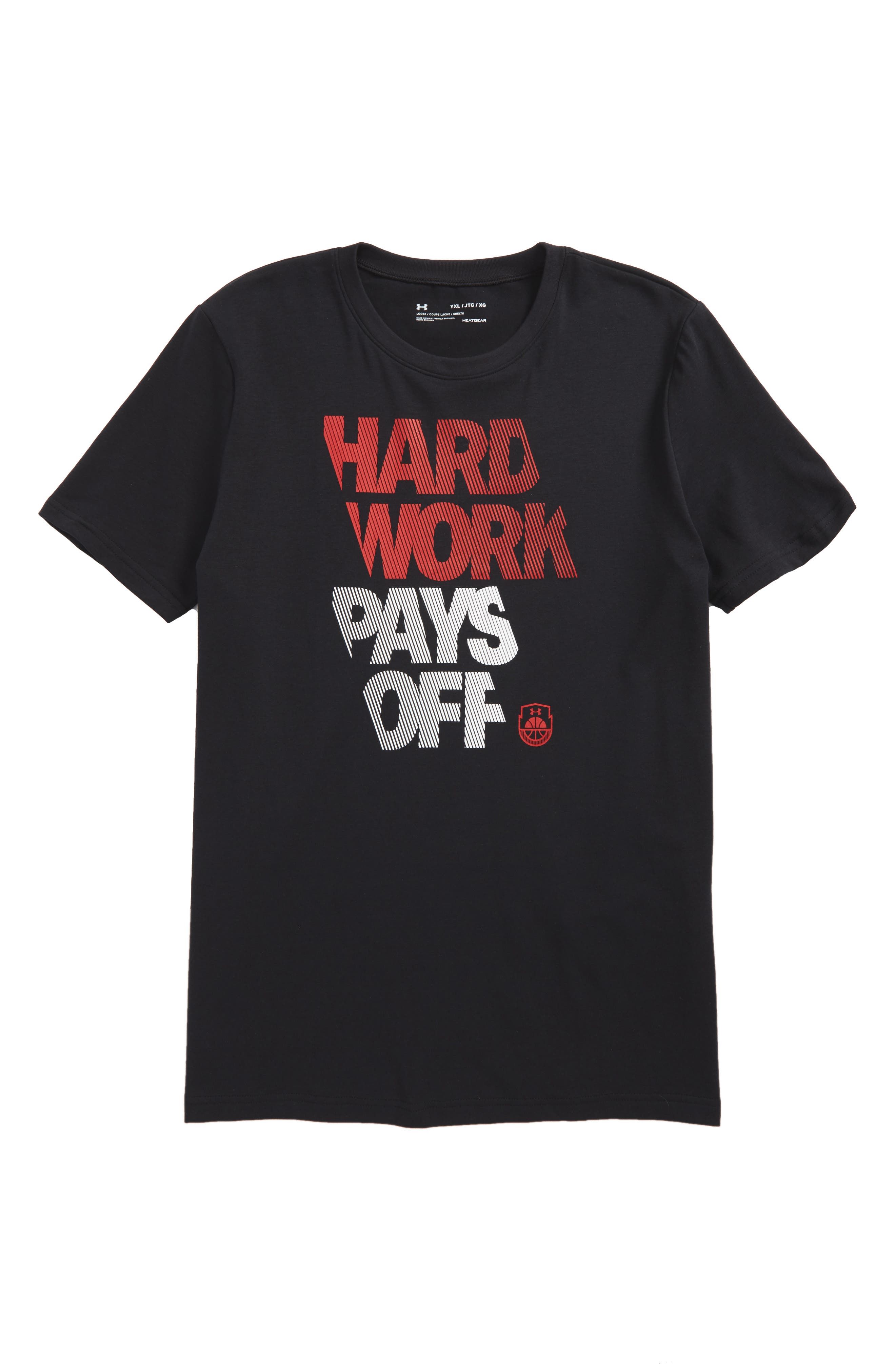 Hard Work HeatGear<sup>®</sup> Graphic T-Shirt,                         Main,                         color, Black