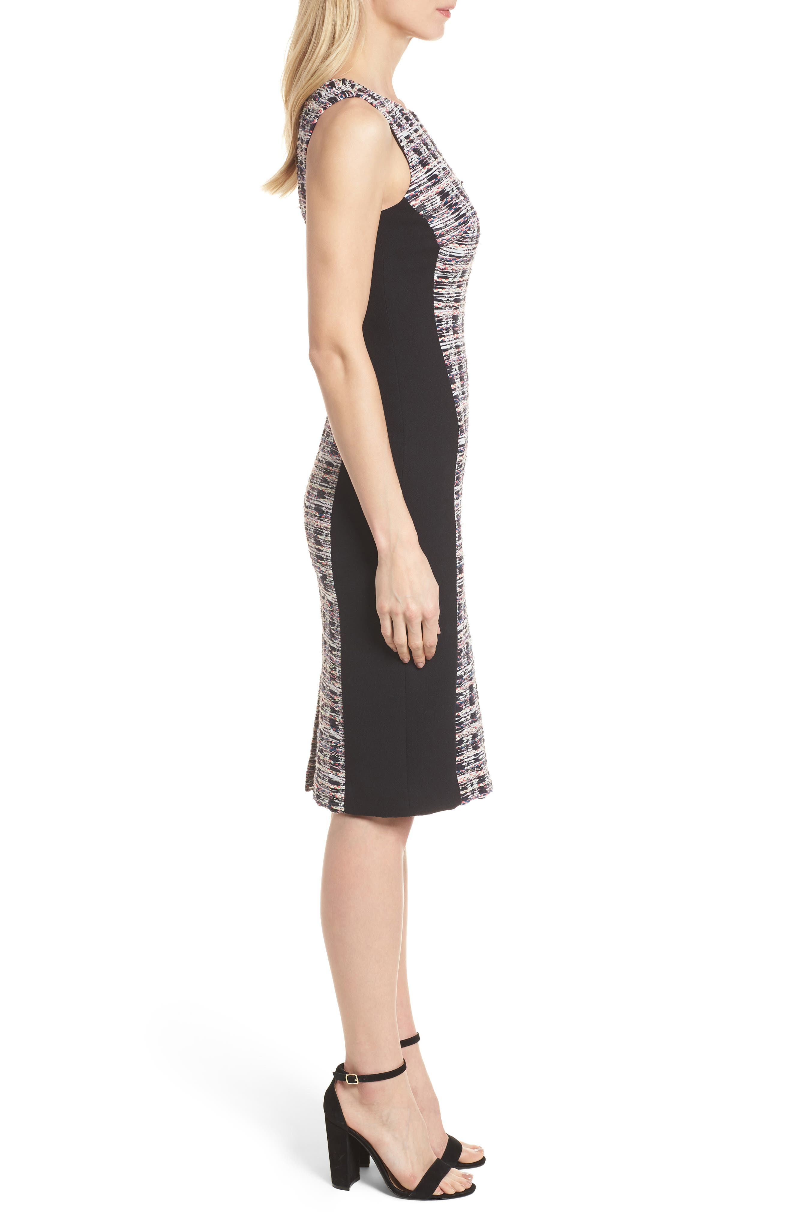 Tweed Mix Body-Con Sheath Dress,                             Alternate thumbnail 3, color,                             Black Opera Tweed