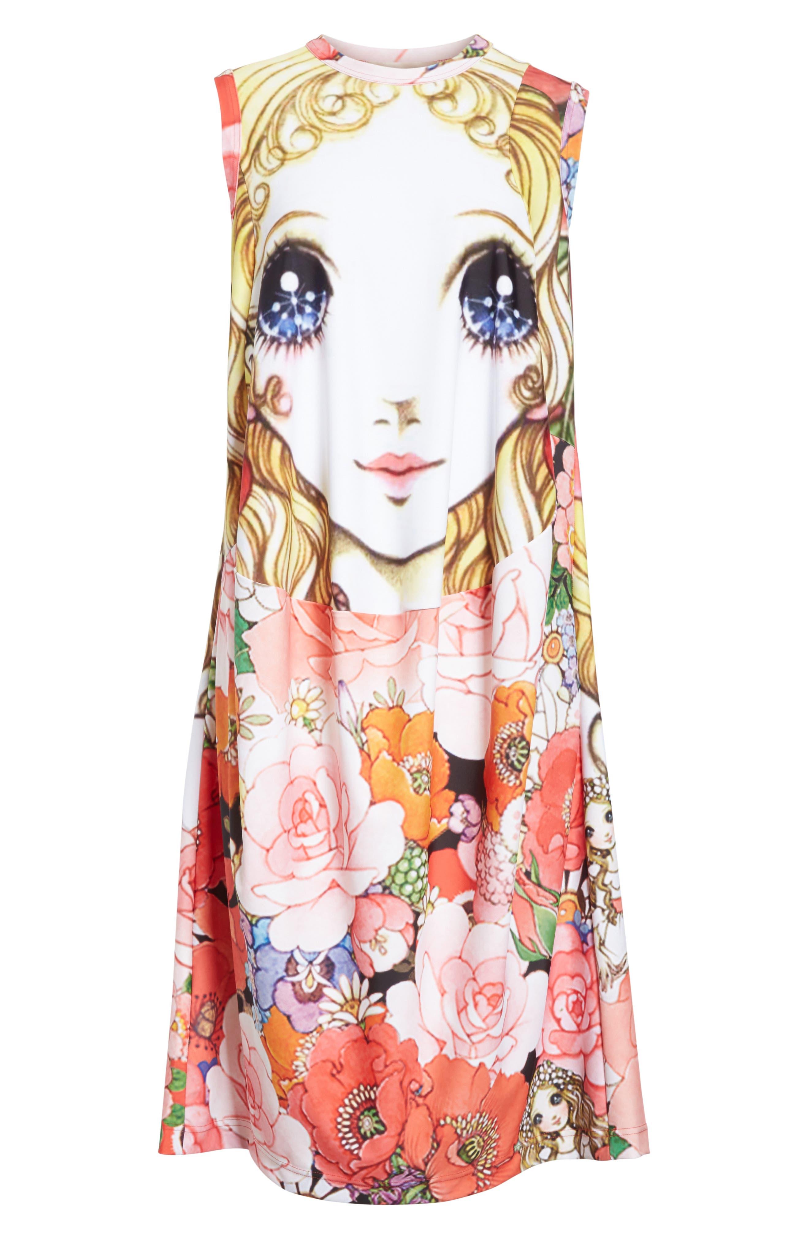 Manga Print Sleeveless Dress,                             Alternate thumbnail 7, color,                             J Pattern