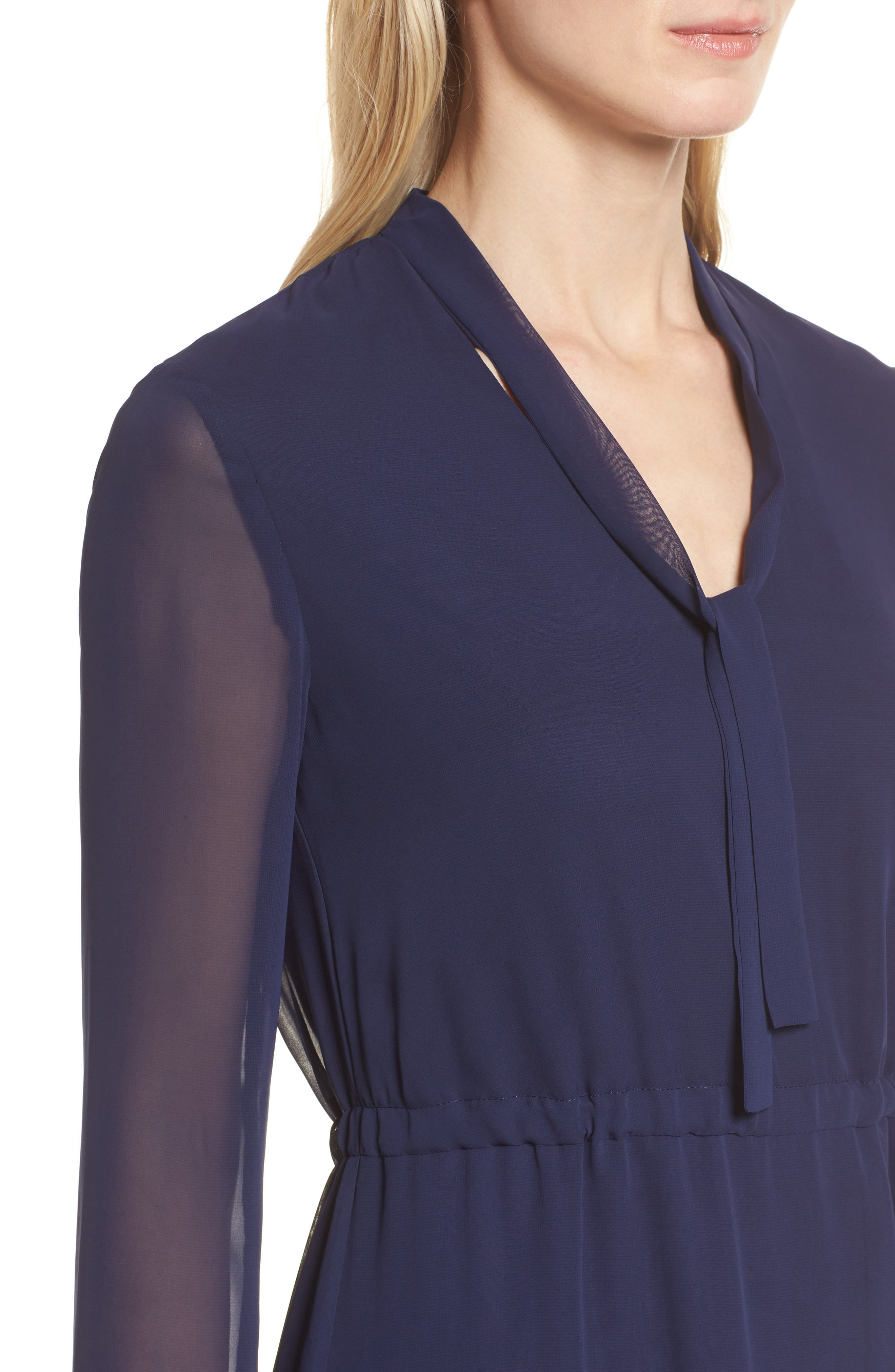 Sheer Overlay Tie Dress,                             Alternate thumbnail 4, color,                             Breton Blue