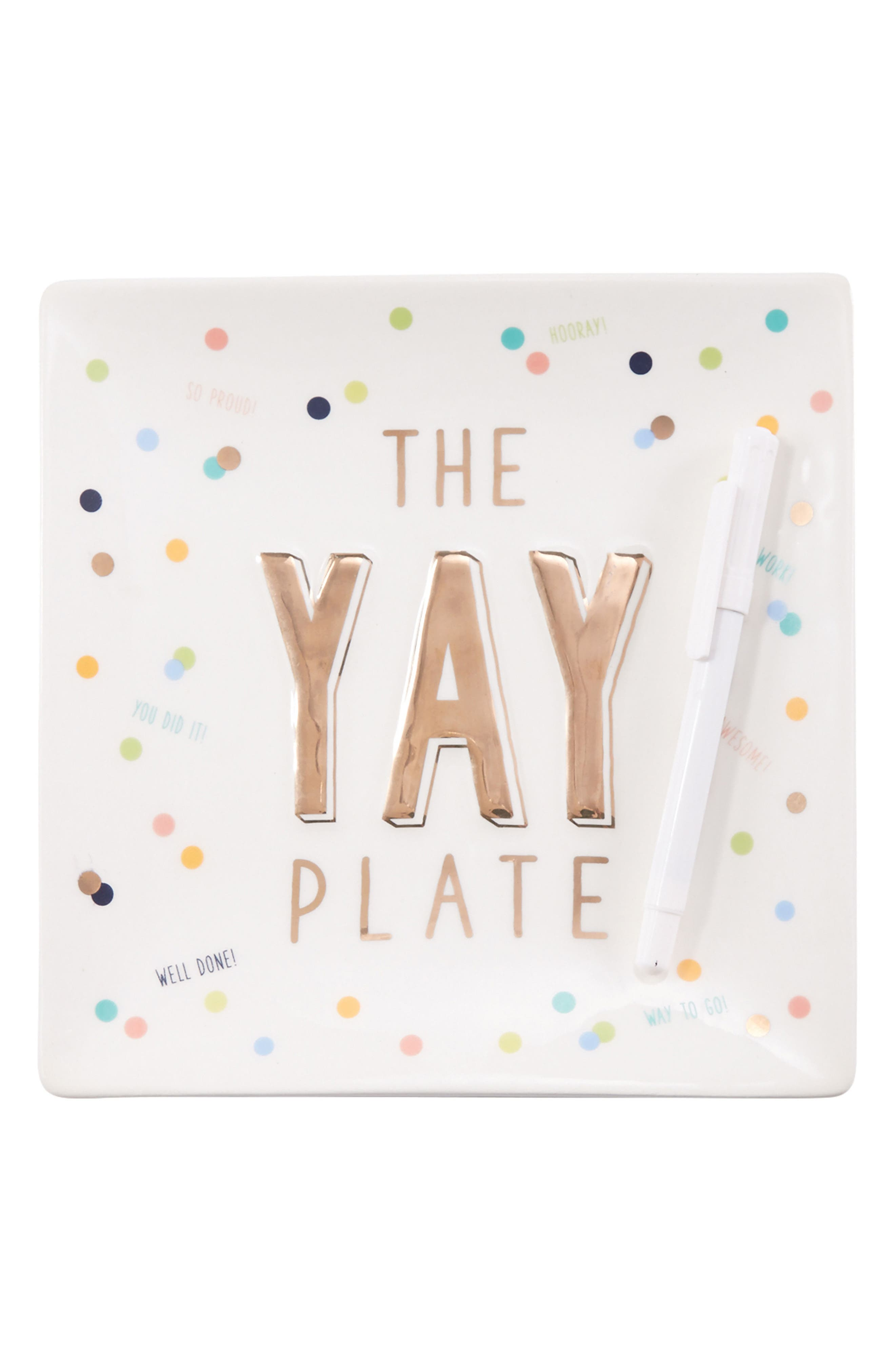 The Yay Plate,                         Main,                         color, White