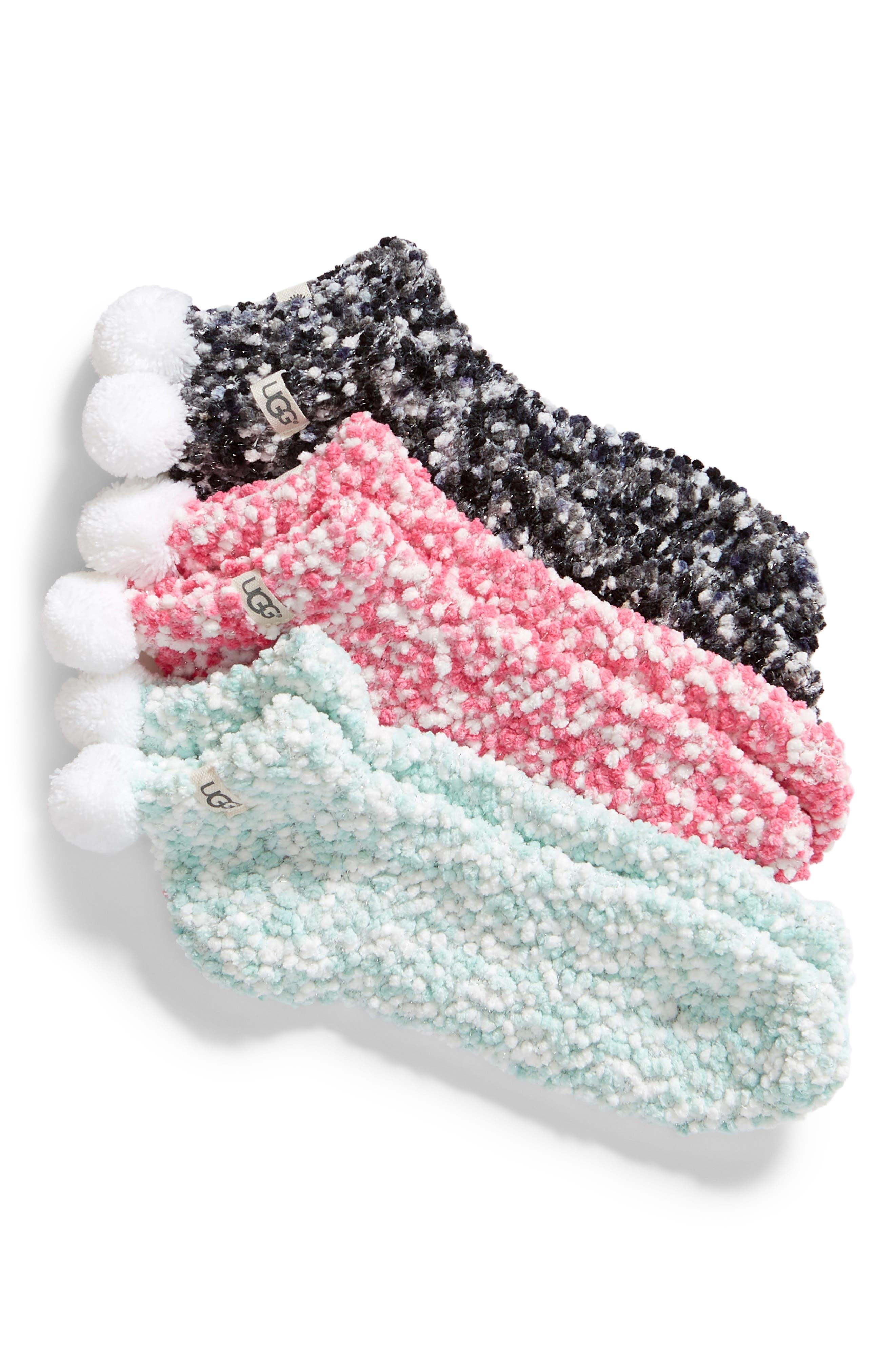 3-Pack Pompom Socks,                             Main thumbnail 1, color,                             Multi
