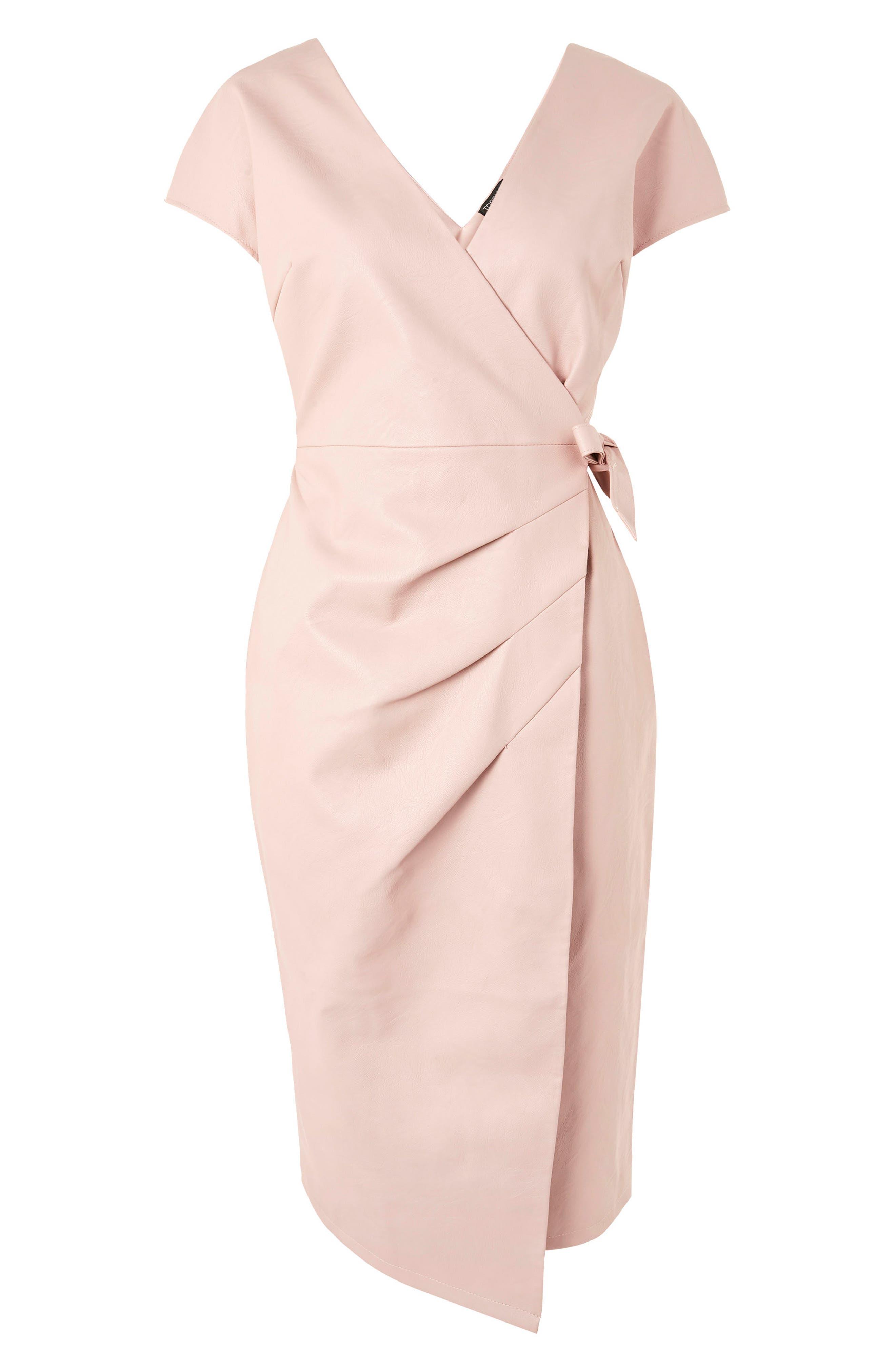 Wrap Midi Dress,                             Alternate thumbnail 3, color,                             Light Pink