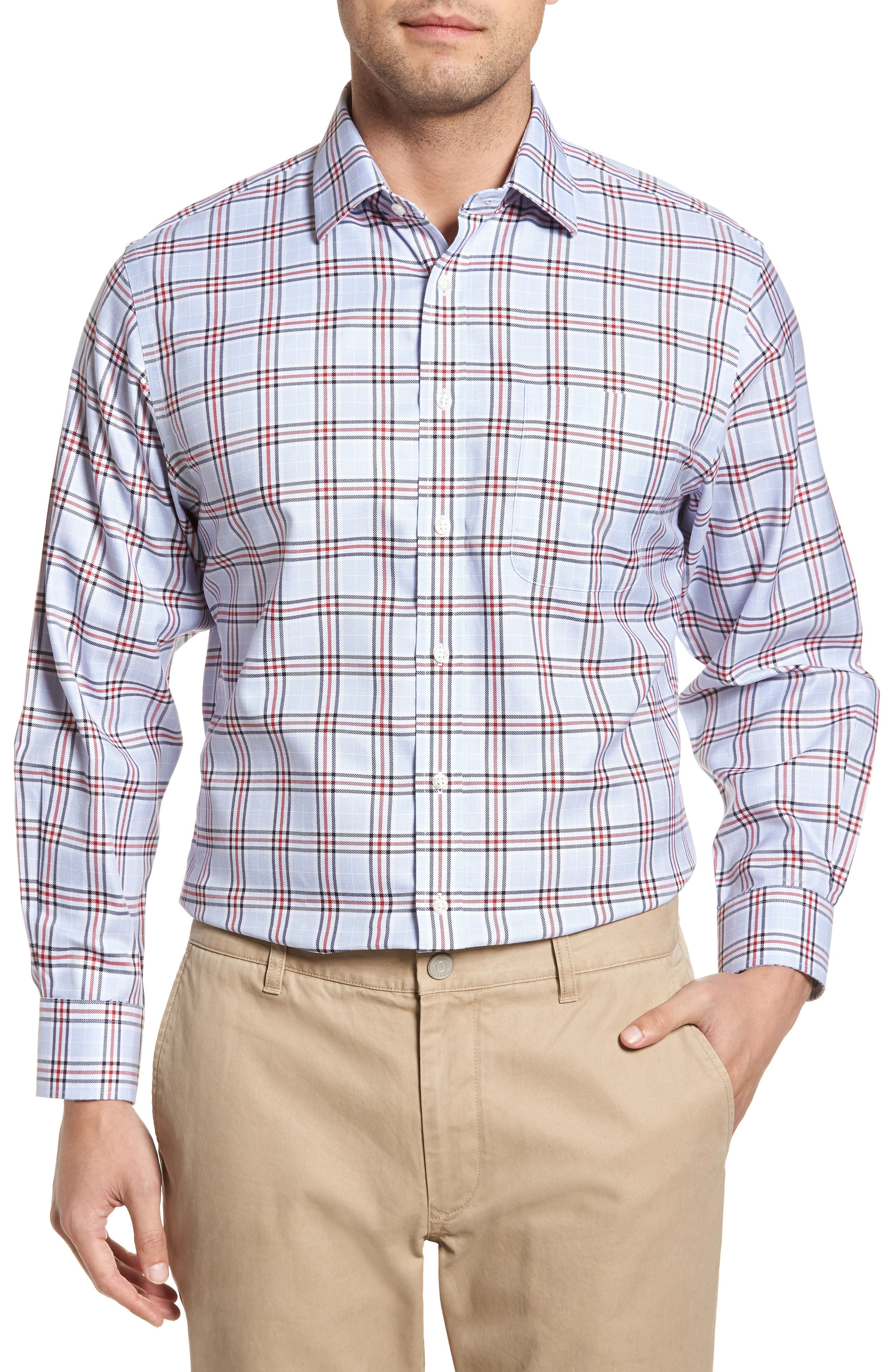 Smartcare<sup>™</sup> Traditional Fit Plaid Dress Shirt,                         Main,                         color, Red Chili