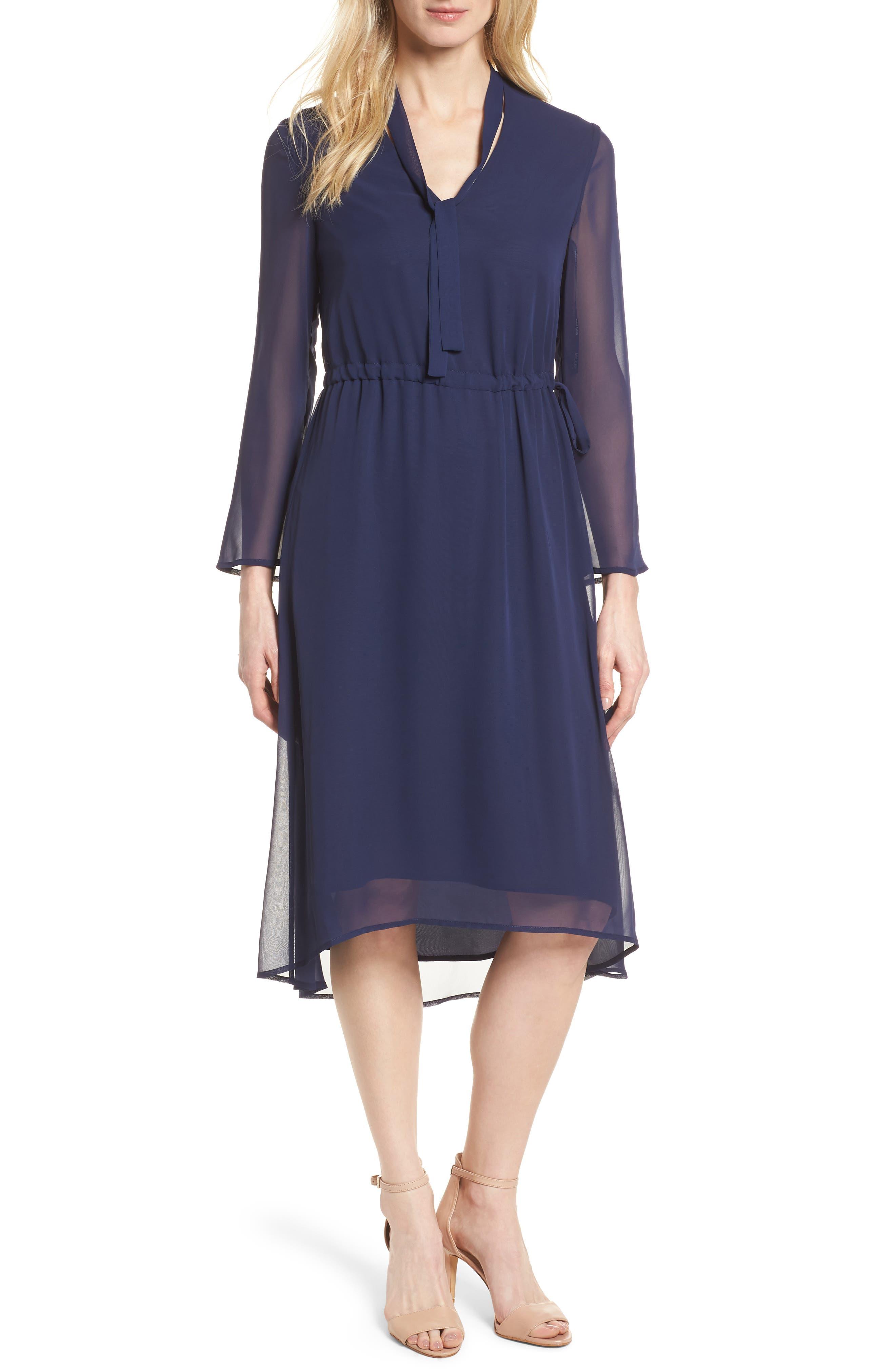 Sheer Overlay Tie Dress,                         Main,                         color, Breton Blue