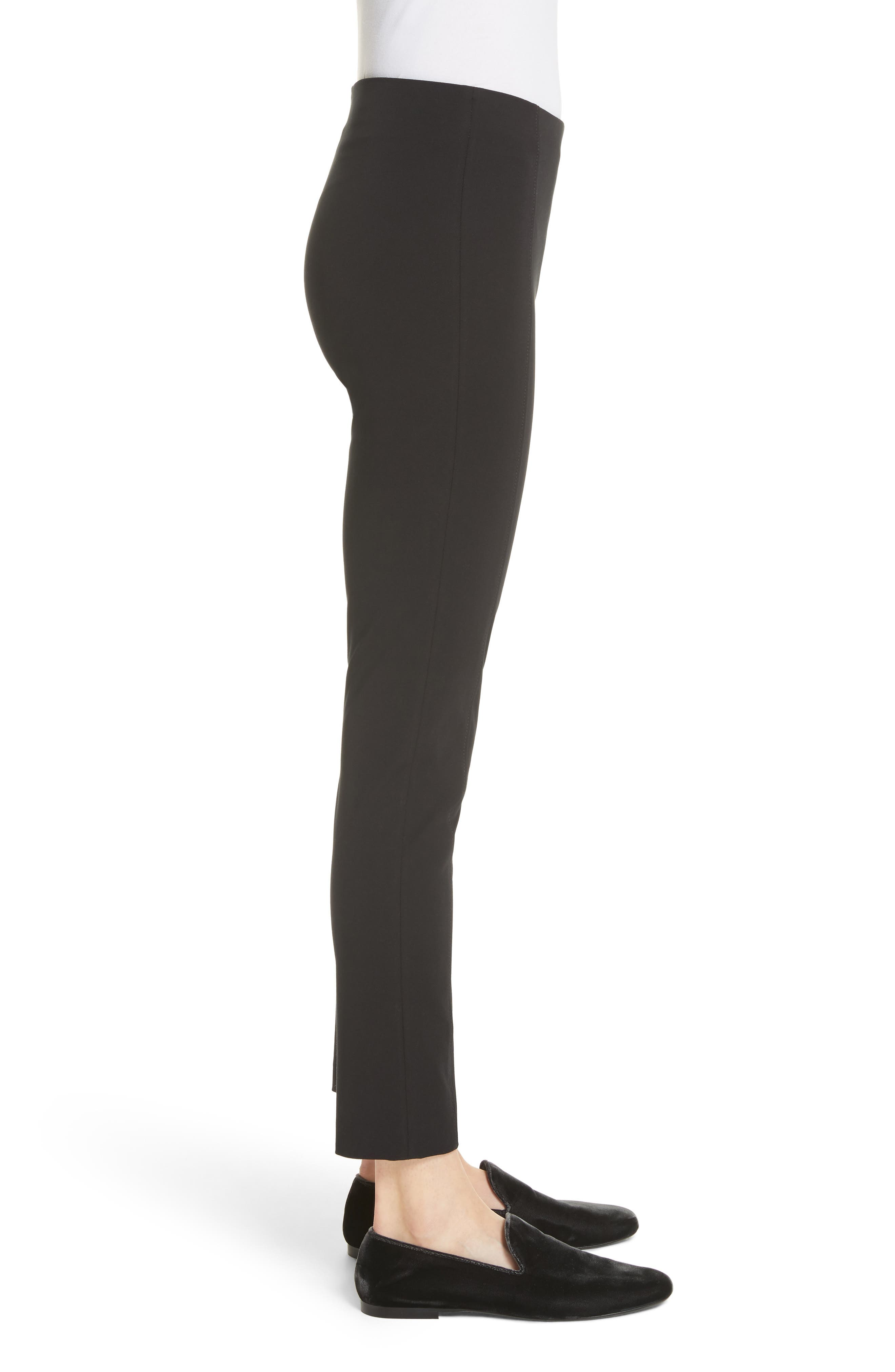 Lenny Slim Stretch Cotton Pants,                             Alternate thumbnail 3, color,                             Black