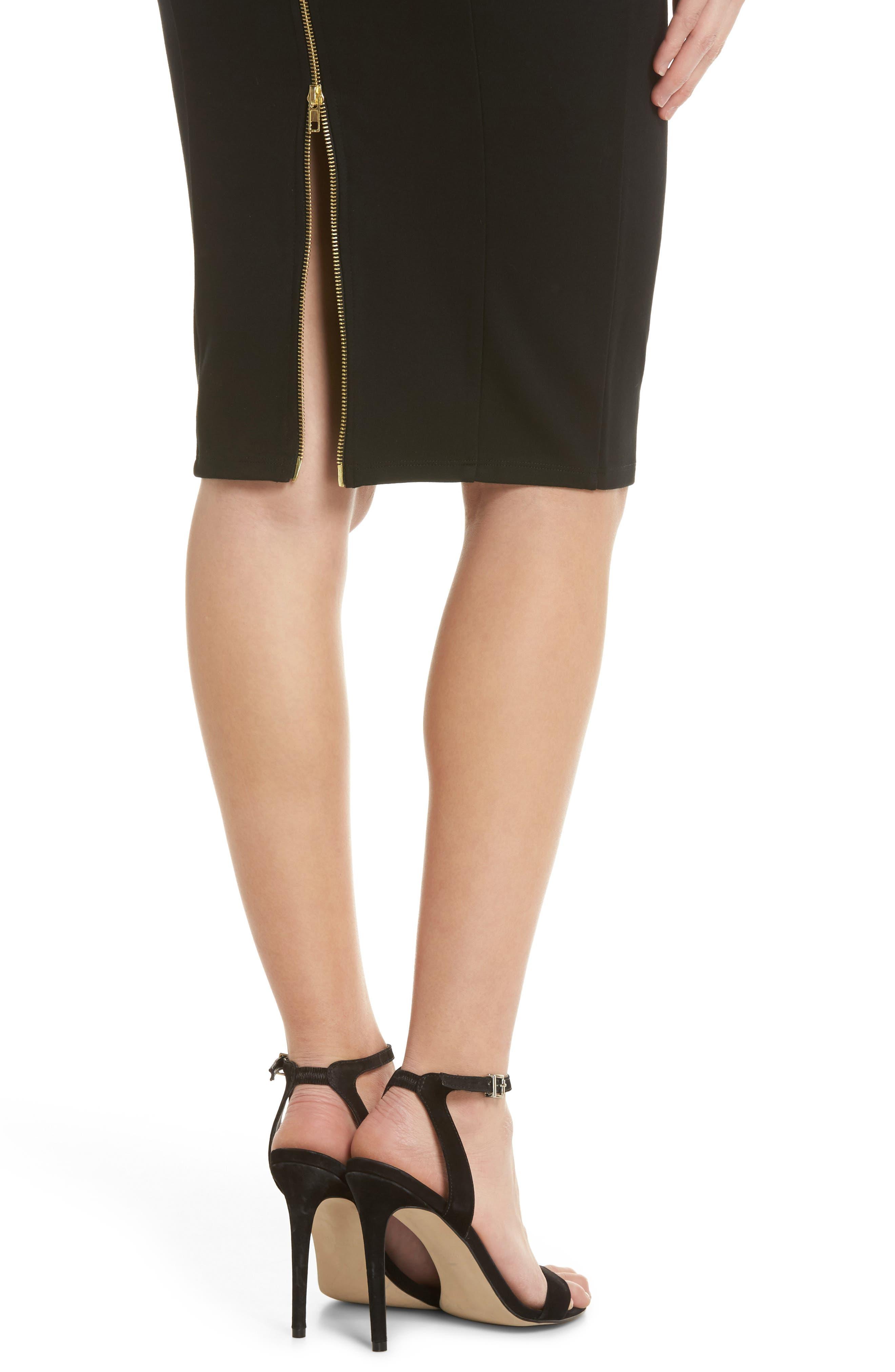 Brianna Strapless Knit Body-Con Dress,                             Alternate thumbnail 4, color,                             Black