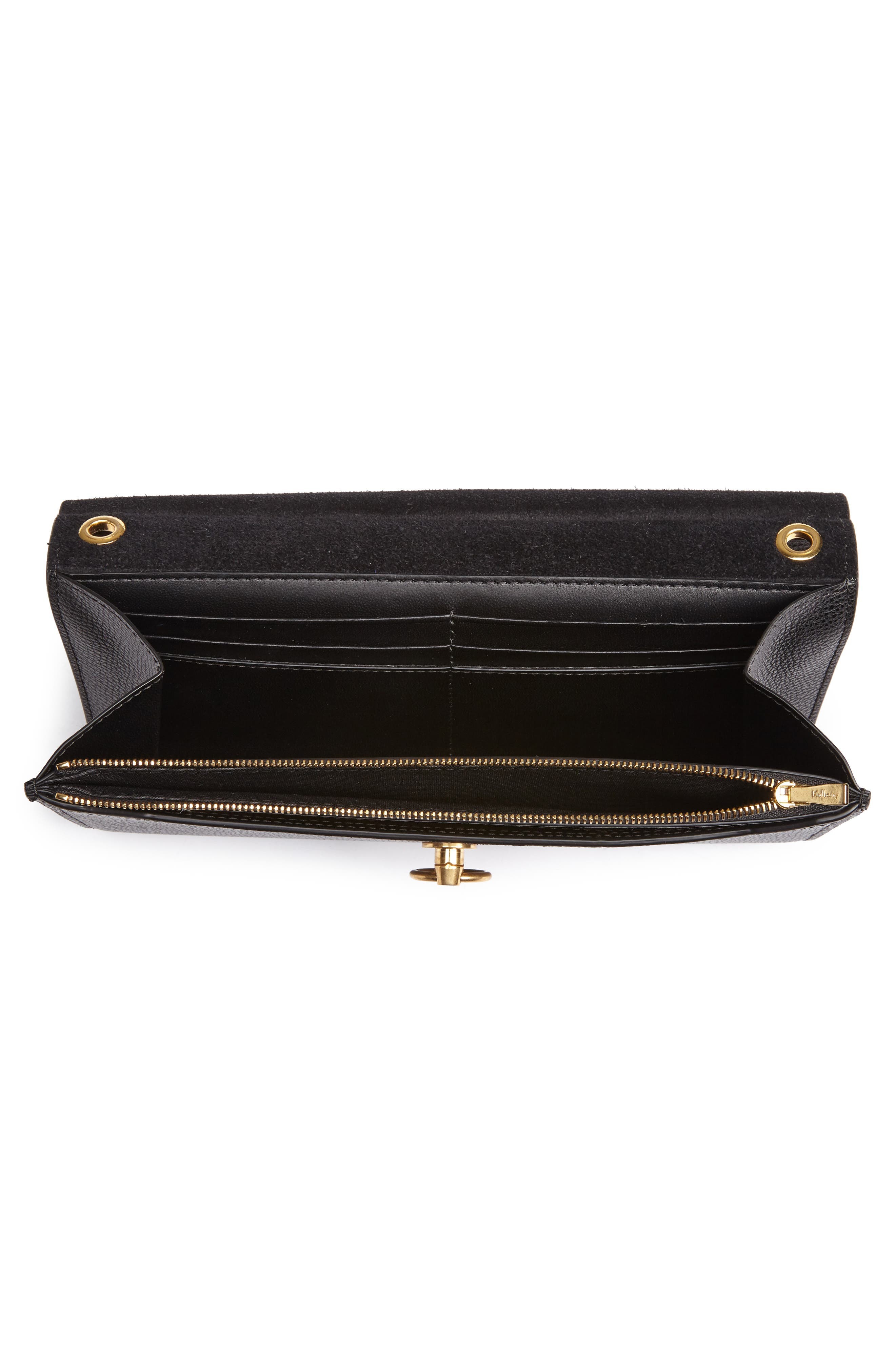 Amberley Calfskin Leather Clutch,                             Alternate thumbnail 4, color,                             Black