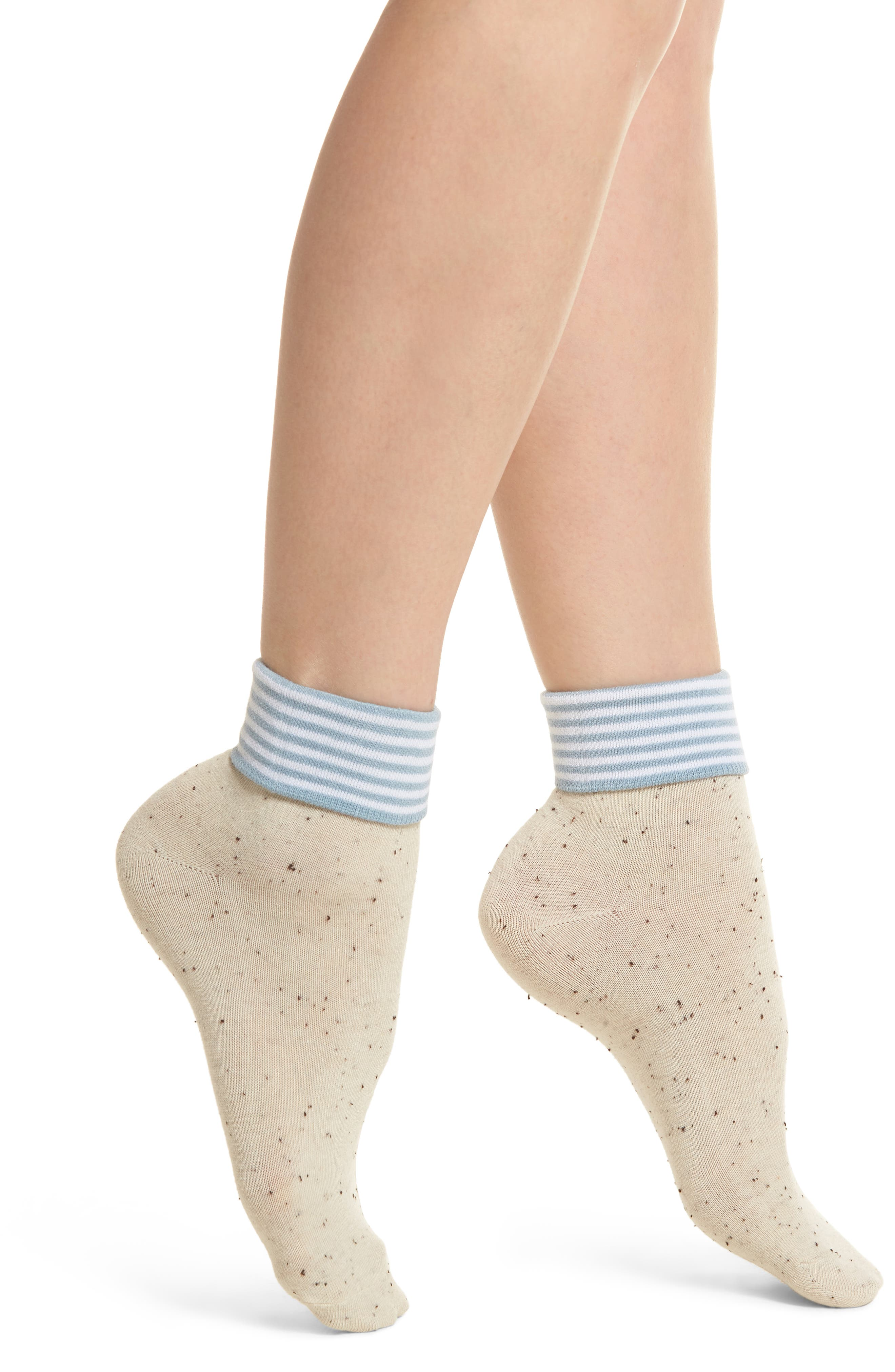 Tina Foldover Ankle Socks,                             Main thumbnail 1, color,                             Oatmeal