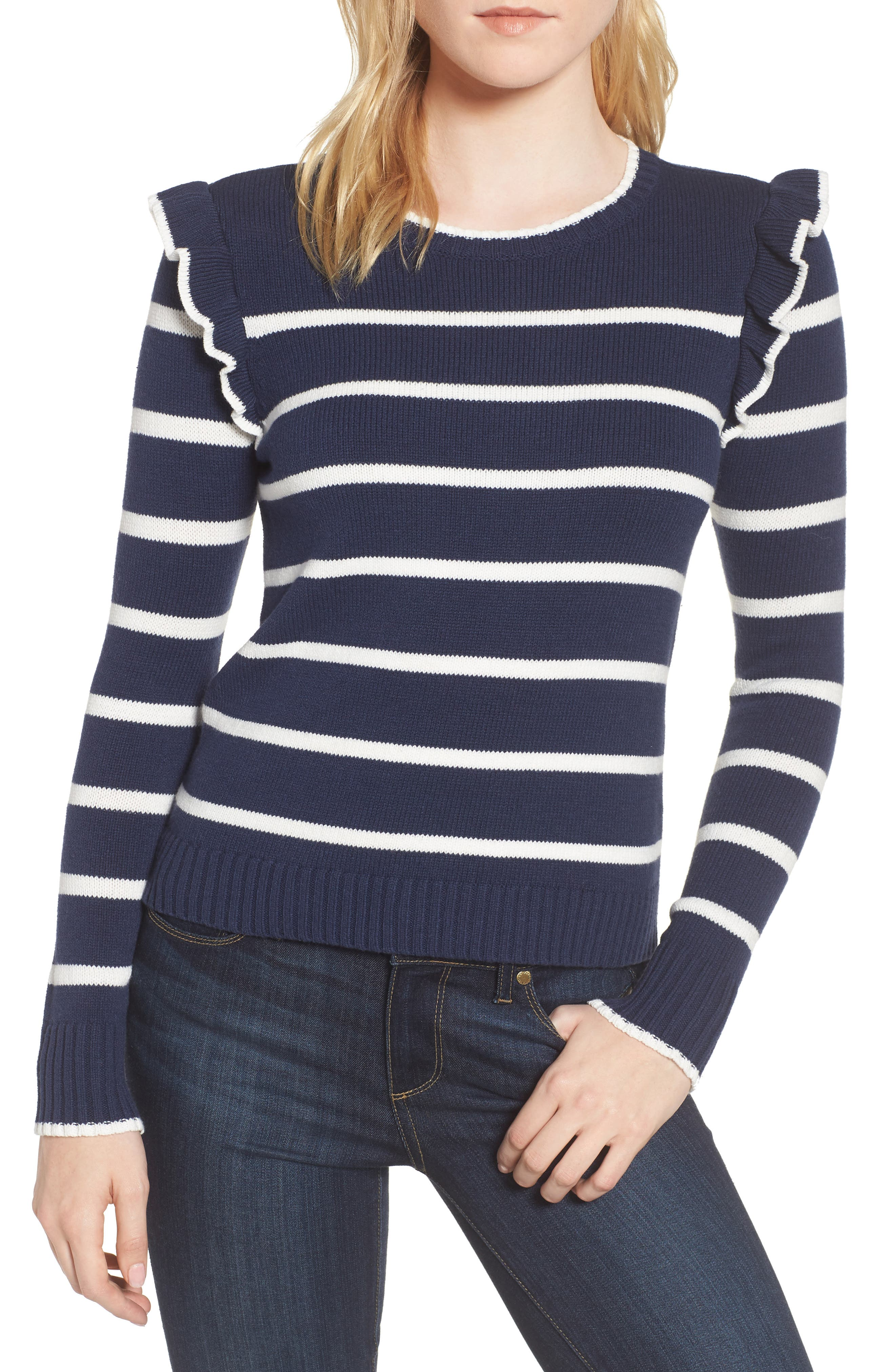 cupcakes and cashmere Bryant Ruffle Stripe Sweater