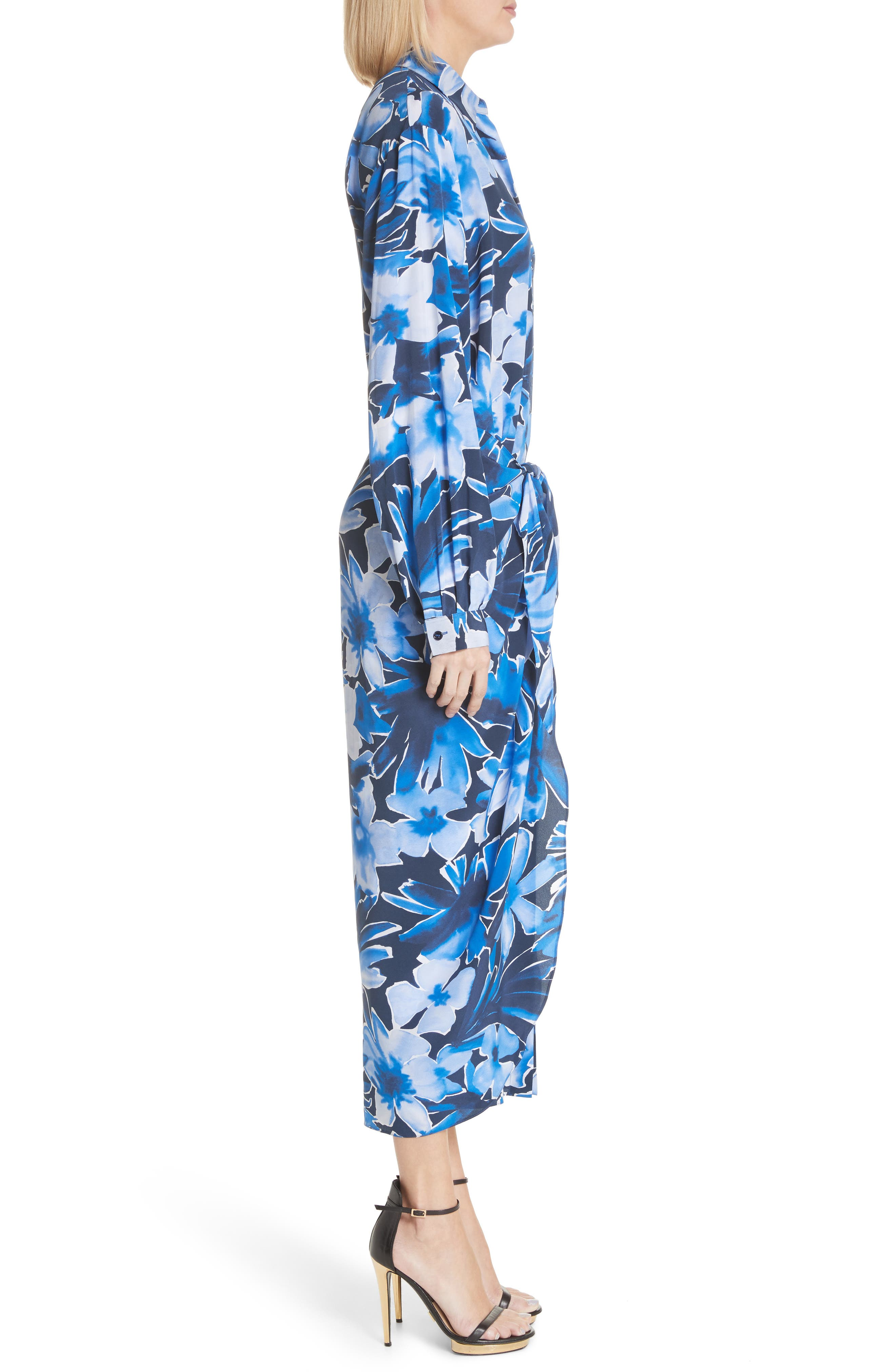 Floral Silk Sarong Dress,                             Alternate thumbnail 3, color,                             Maritime Multi