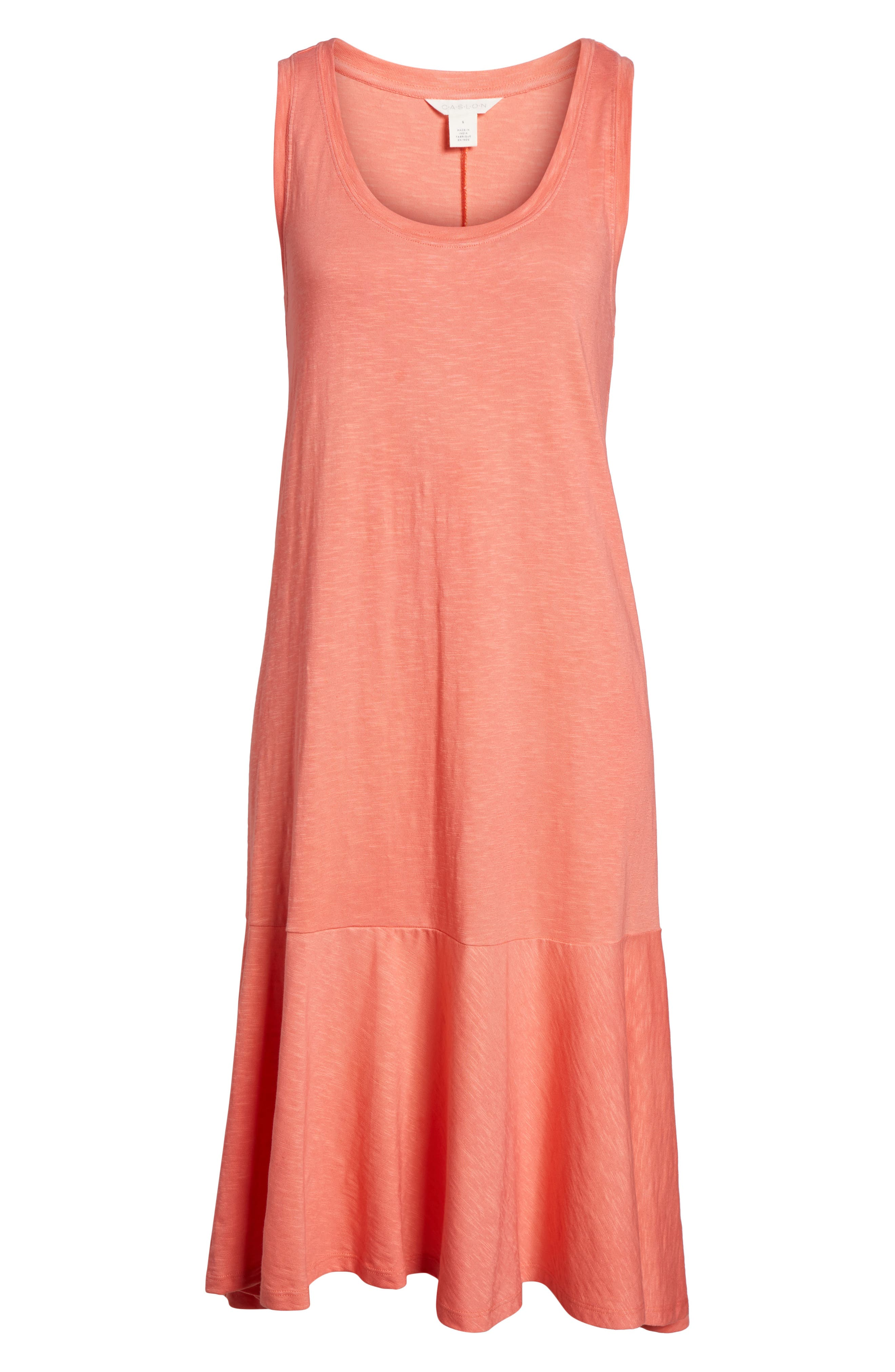 Drop Waist Jersey Dress,                             Alternate thumbnail 6, color,                             Coral Rose