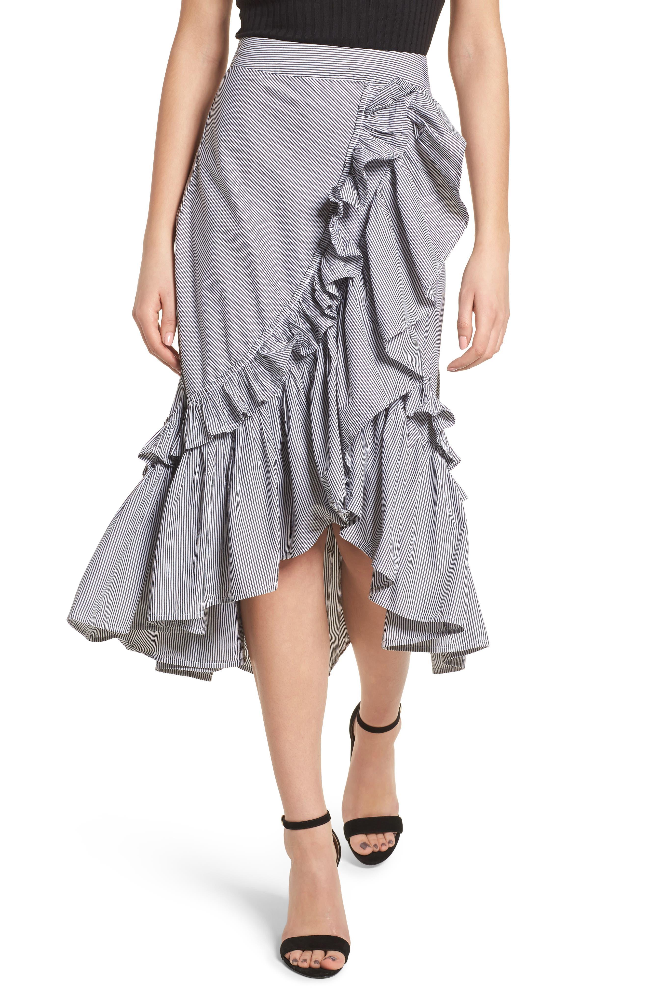 Flounce Ruffle Trim Skirt,                             Main thumbnail 1, color,                             Black Jenny Stripe