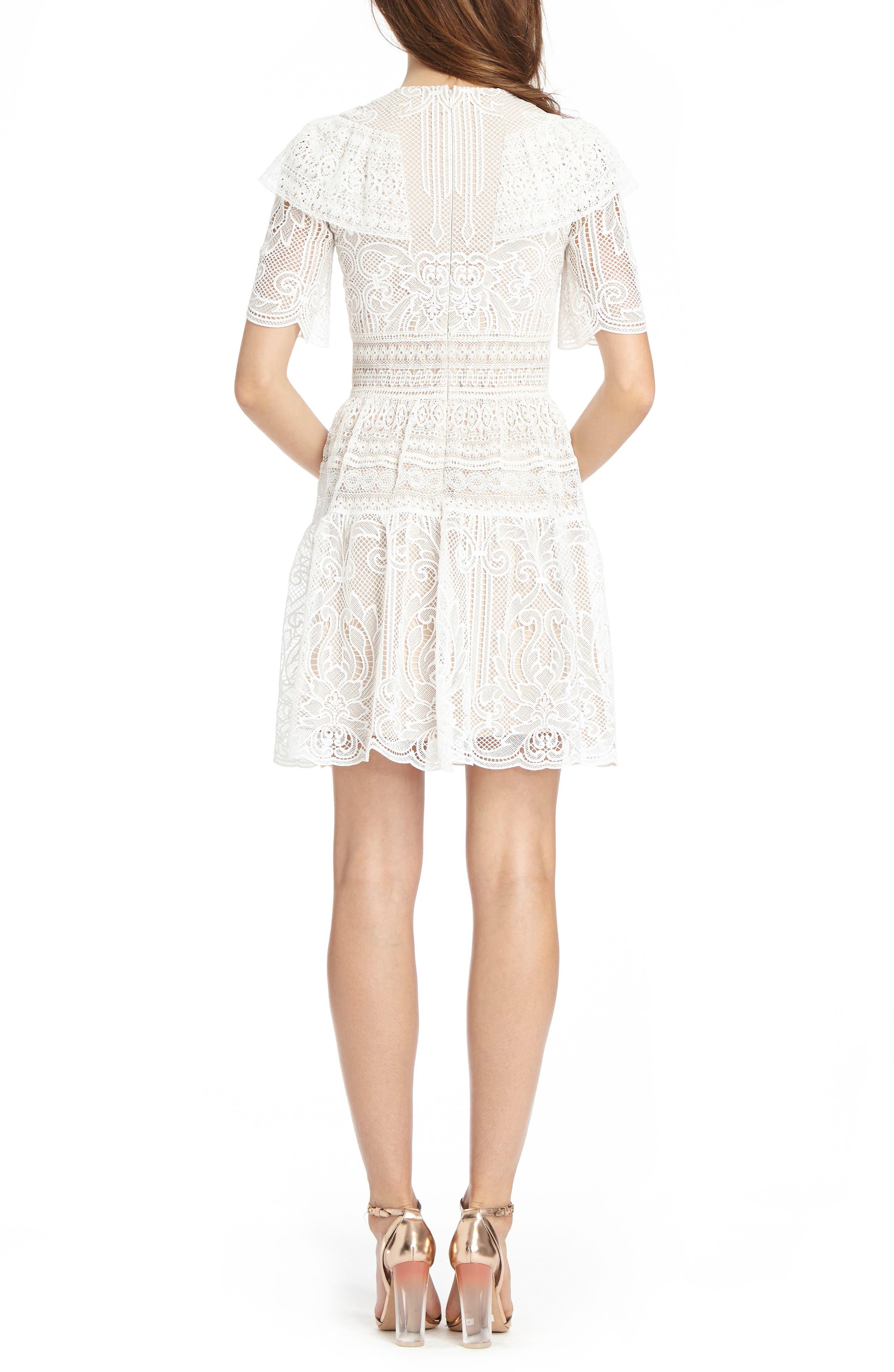 Lace Skater Dress,                             Alternate thumbnail 2, color,                             White