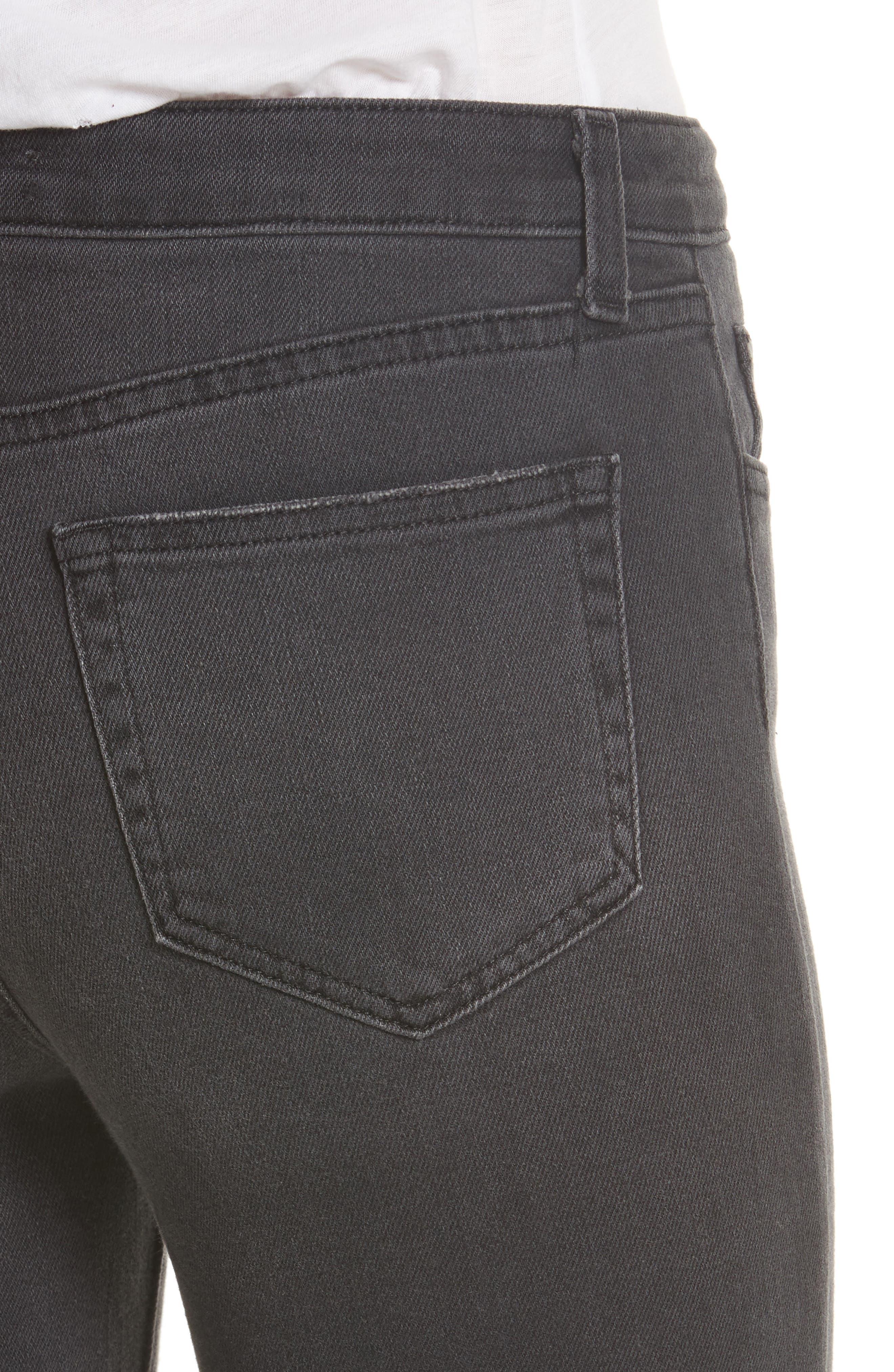 Audrina Ripped Straight Leg Jeans,                             Alternate thumbnail 4, color,                             Vintage Black Worn Destruct