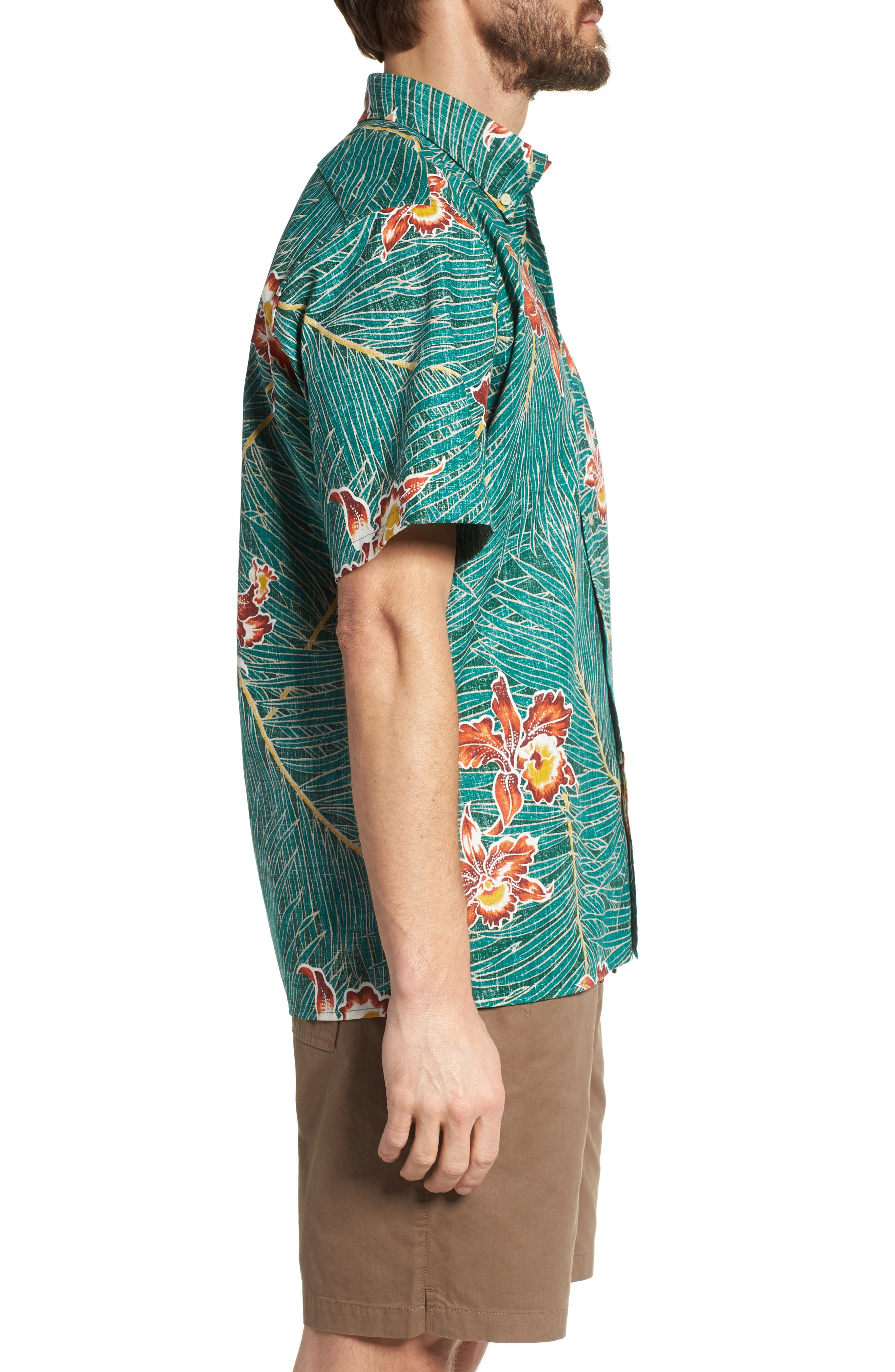 Okika Oasis Traditional Fit Sport Shirt,                             Alternate thumbnail 3, color,                             Emerald