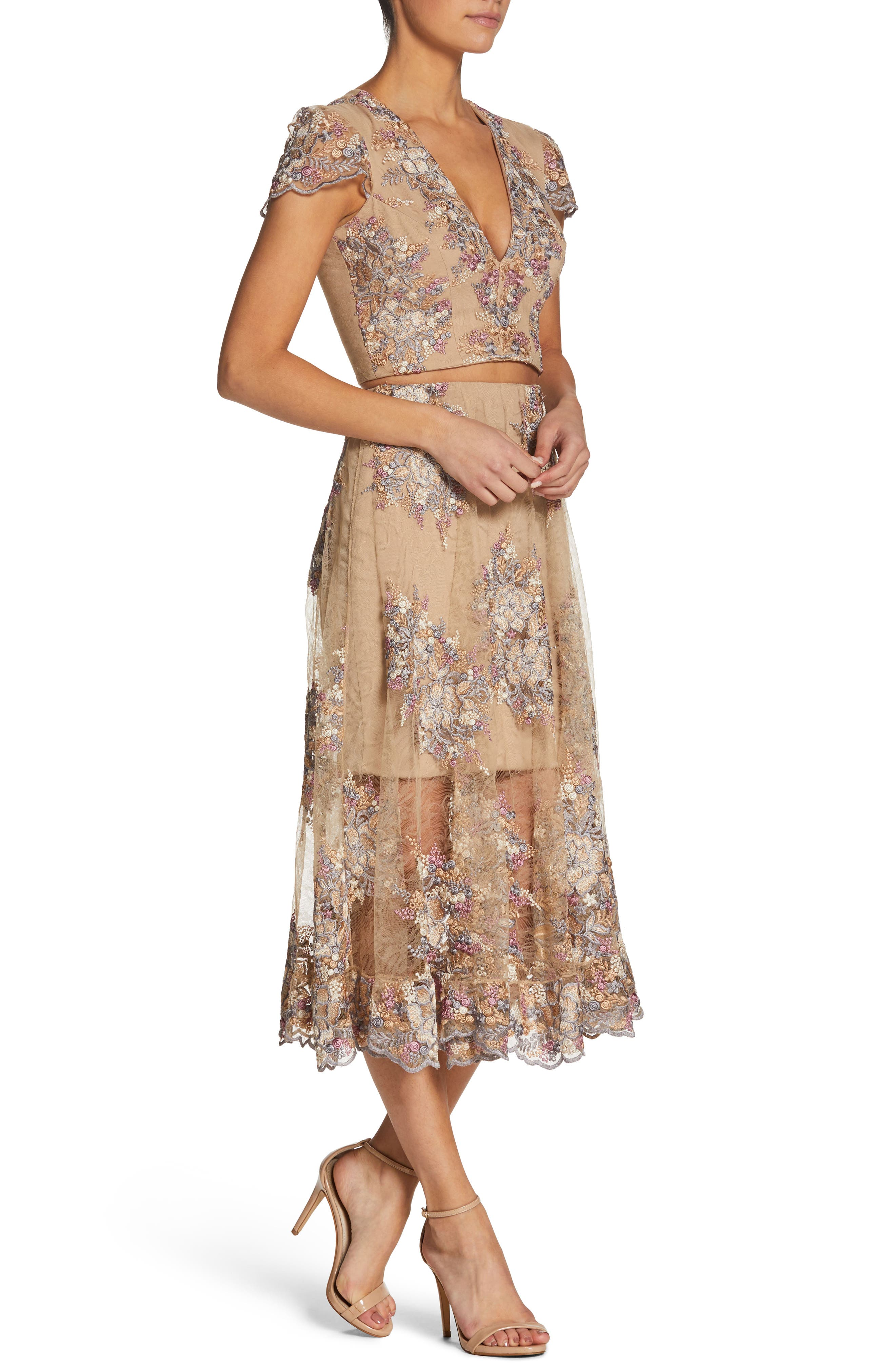 Juliana Two-Piece Dress,                             Alternate thumbnail 3, color,                             Nude/ Floral
