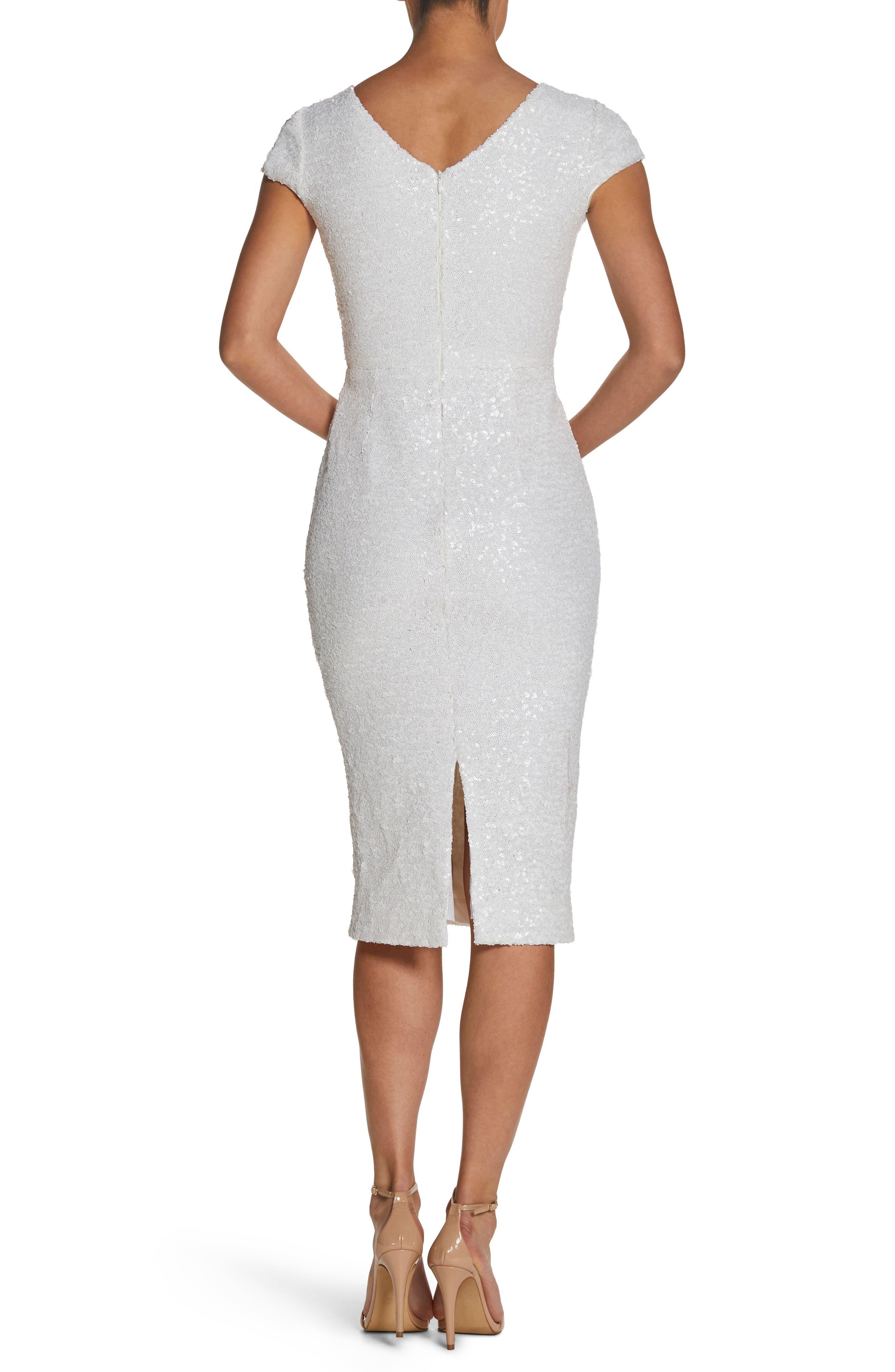 Allison Sequin Sheath Dress,                             Alternate thumbnail 2, color,                             White