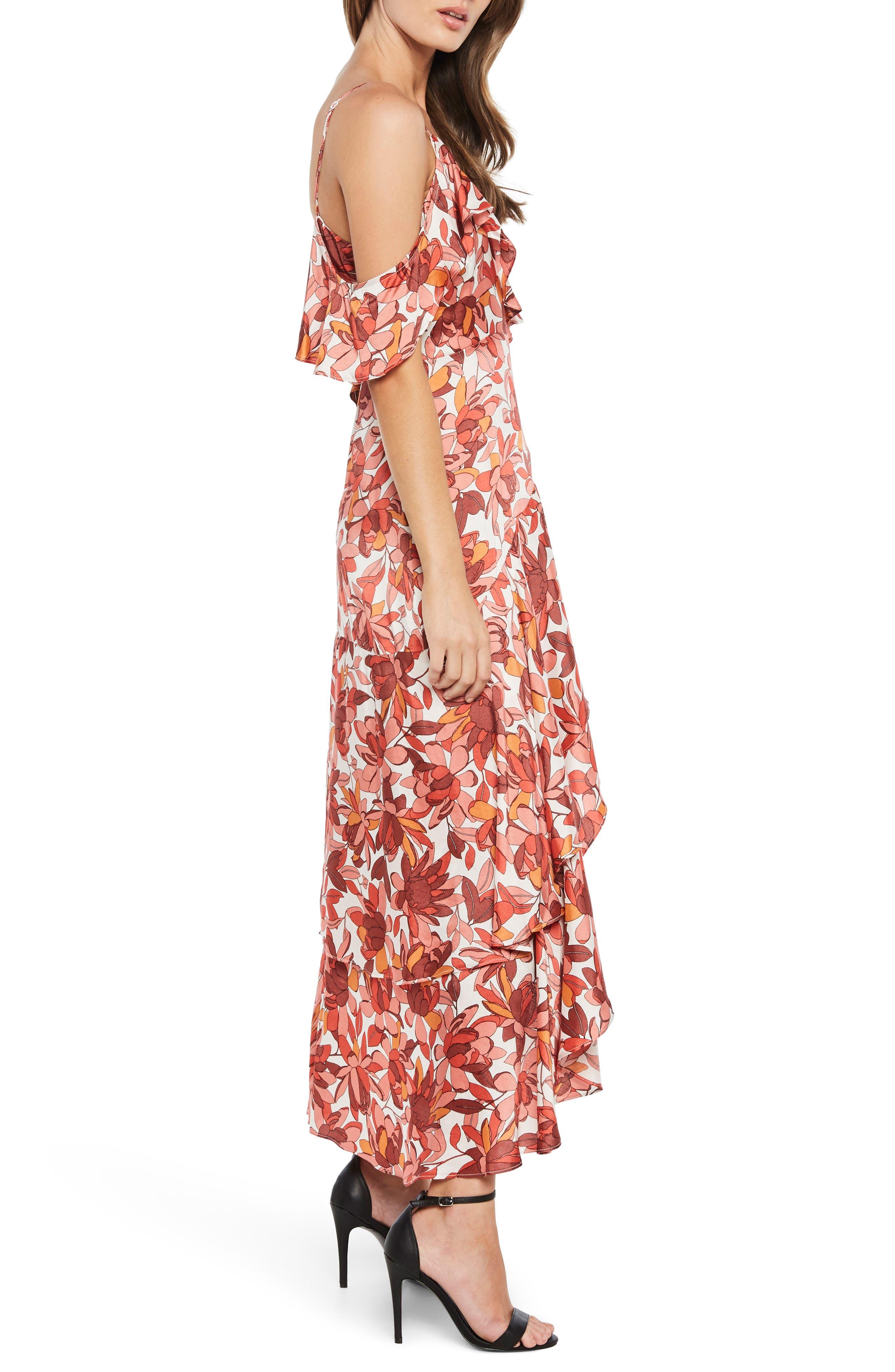 Frankie Frill Floral Dress,                             Alternate thumbnail 4, color,                             Azr Floral