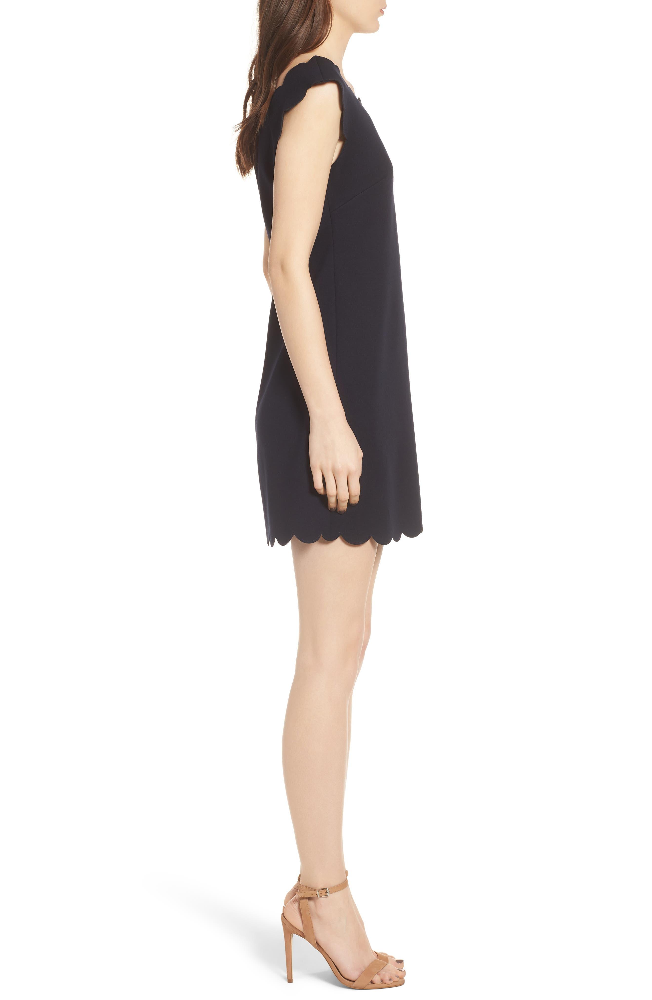Petal Scalloped A-Line Dress,                             Alternate thumbnail 3, color,                             Midnight