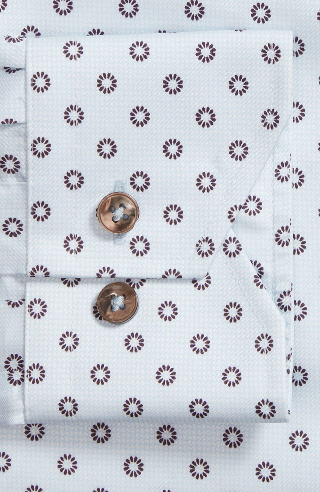 Trim Fit Floral Print Dress Shirt,                             Alternate thumbnail 5, color,                             Light Blue