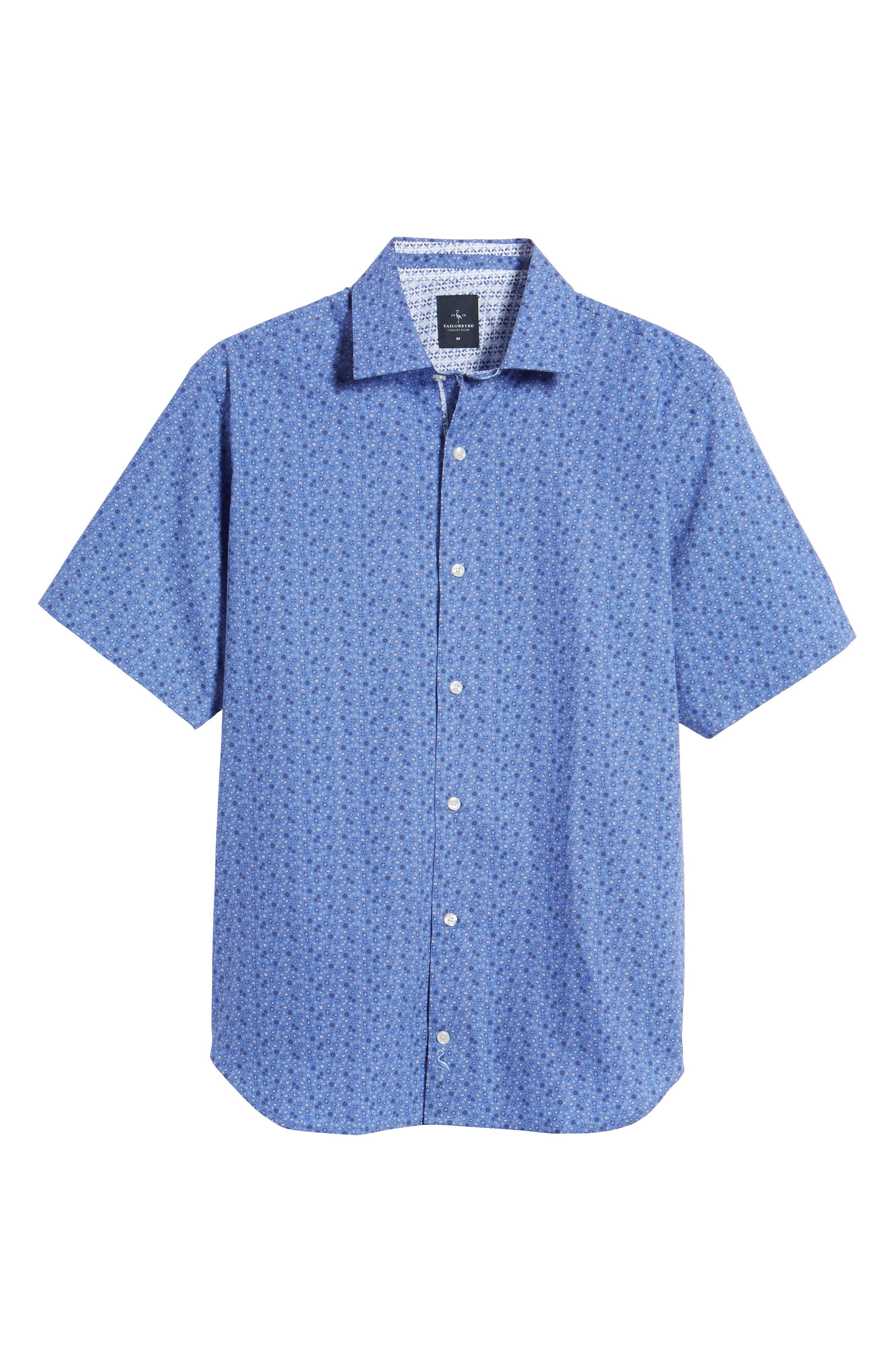Ballou Regular Fit Floral Print Sport Shirt,                             Alternate thumbnail 6, color,                             Royal