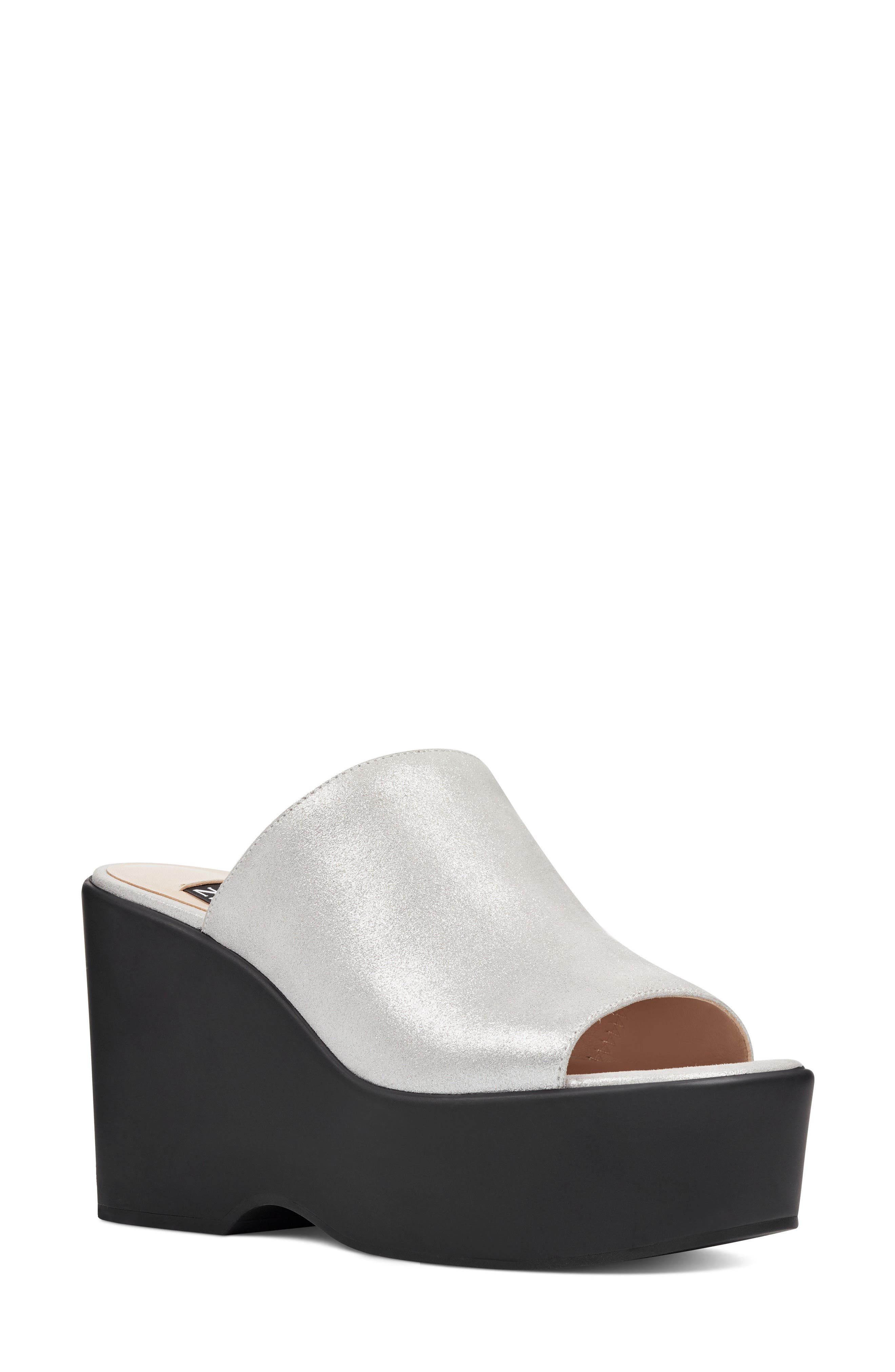 Tomo - 40th Anniversary Capsule Collection Platform Sandal,                         Main,                         color, Light Silver Leather
