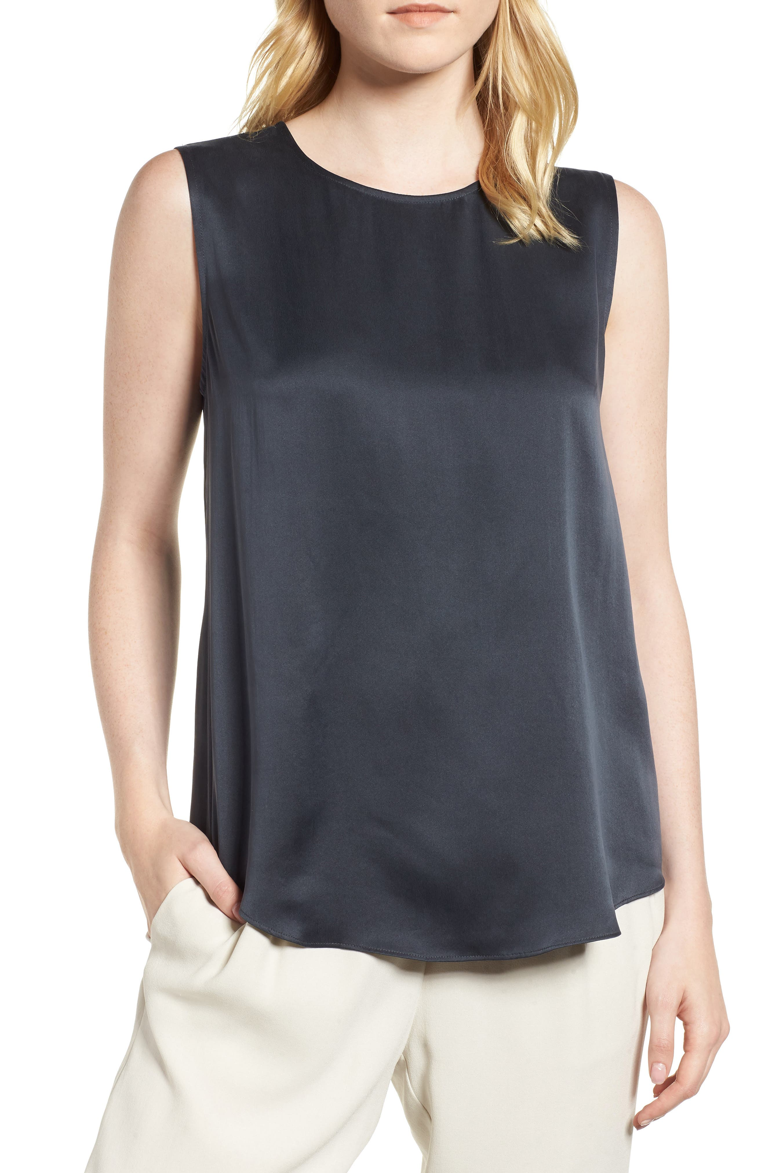 Round Neck Silk Tank,                         Main,                         color, Graphite