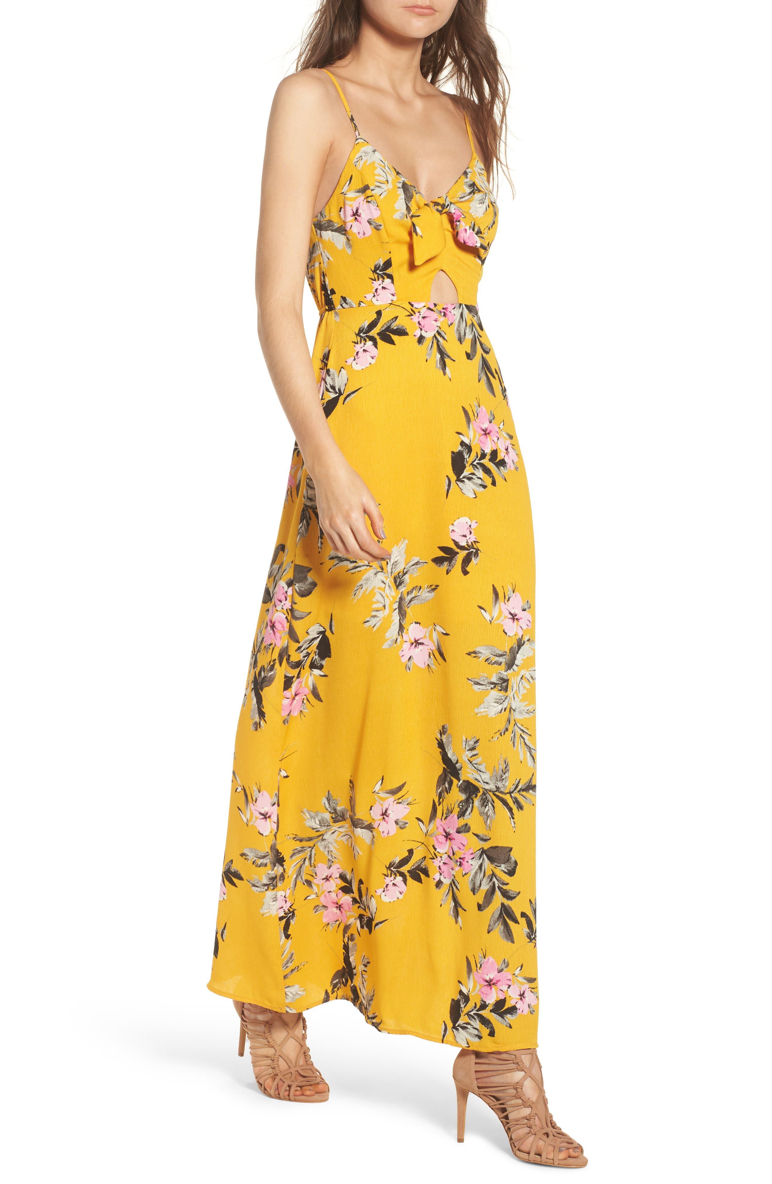 Tie Front Maxi Dress,                             Main thumbnail 1, color,                             Marigold