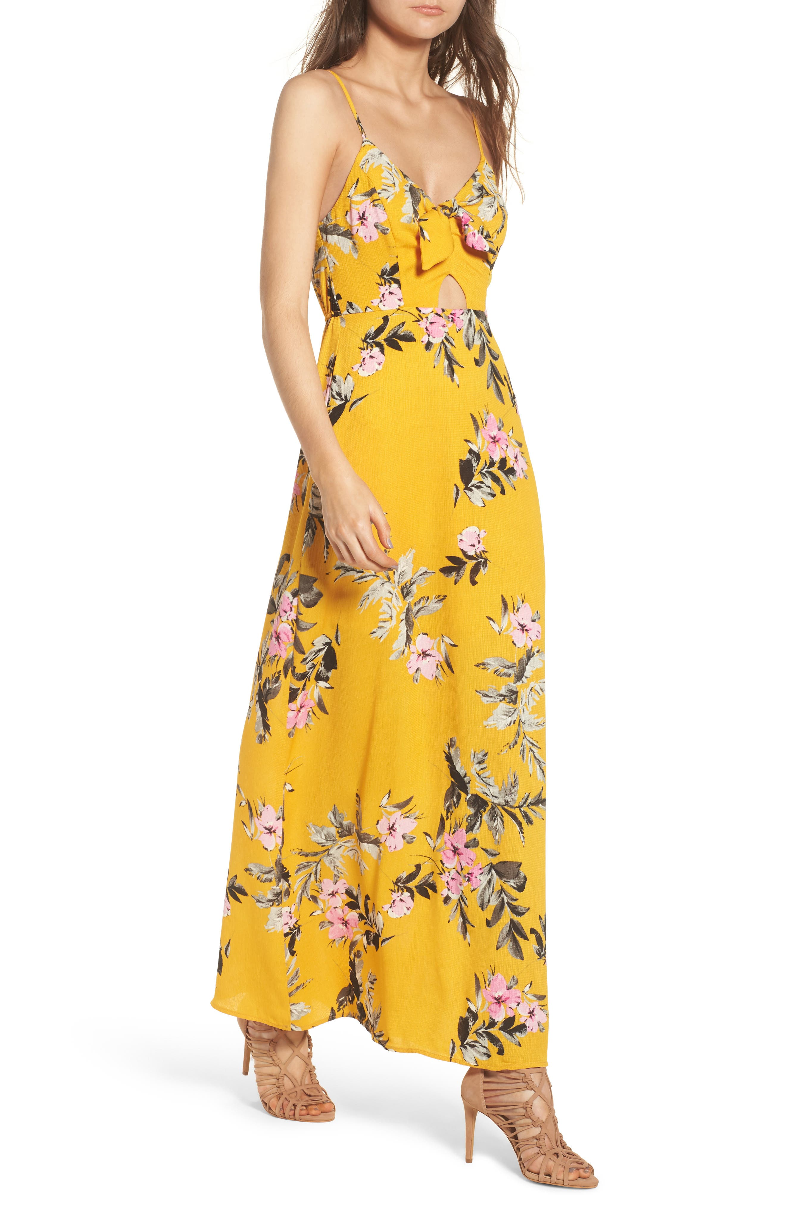 Tie Front Maxi Dress,                         Main,                         color, Marigold