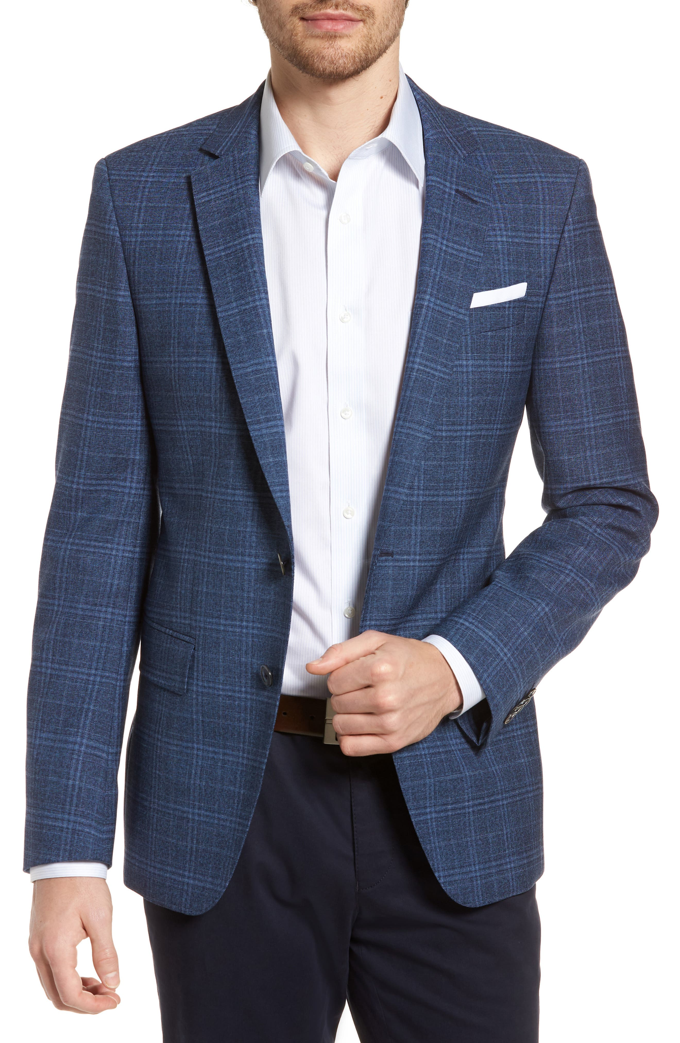 Hutsons Trim Fit Plaid Wool Sport Coat,                         Main,                         color, Medium Blue/ Navy