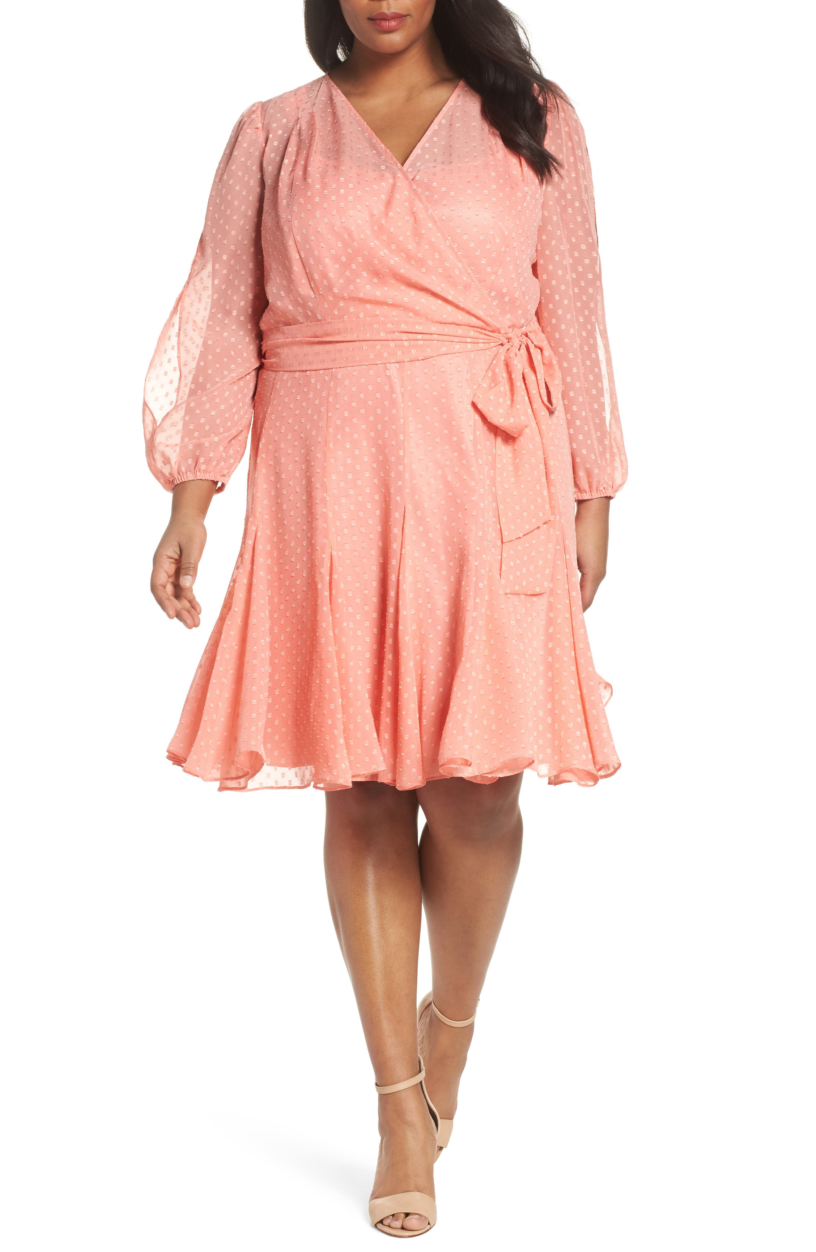 Split Sleeve Swiss Dot Chiffon Faux Wrap Dress,                             Main thumbnail 1, color,                             Soft Coral