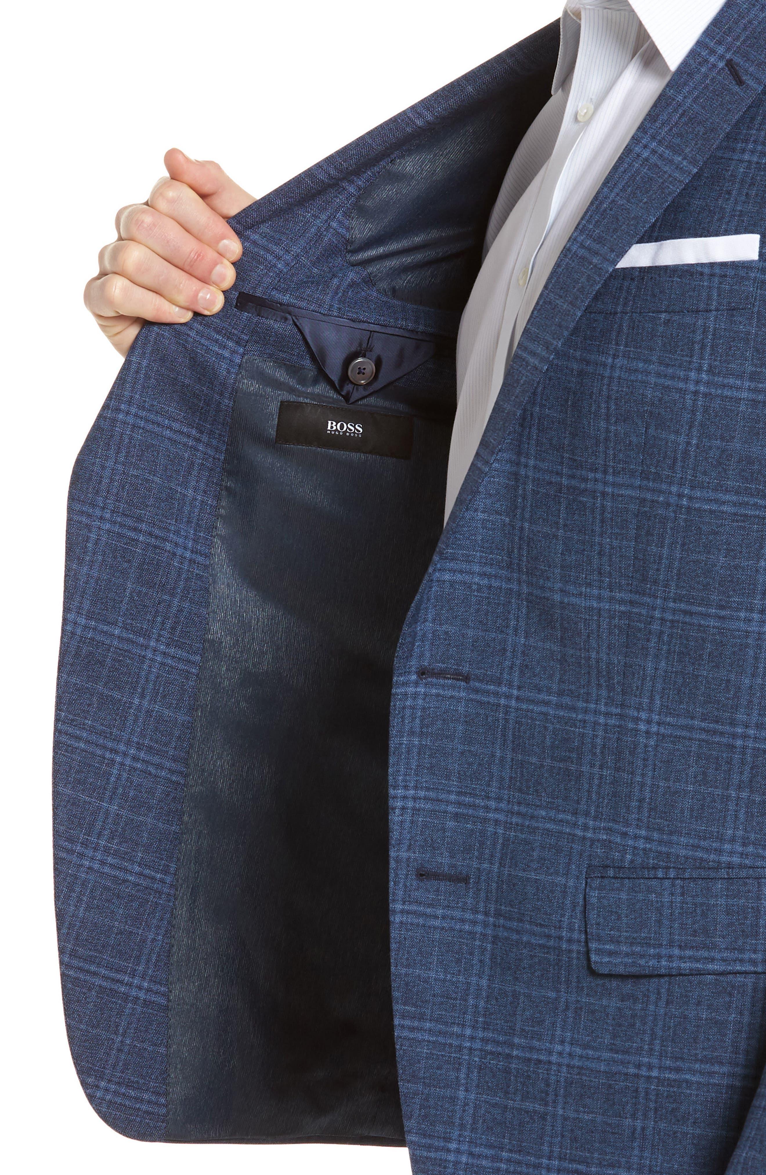 Hutsons Trim Fit Plaid Wool Sport Coat,                             Alternate thumbnail 4, color,                             Medium Blue/ Navy
