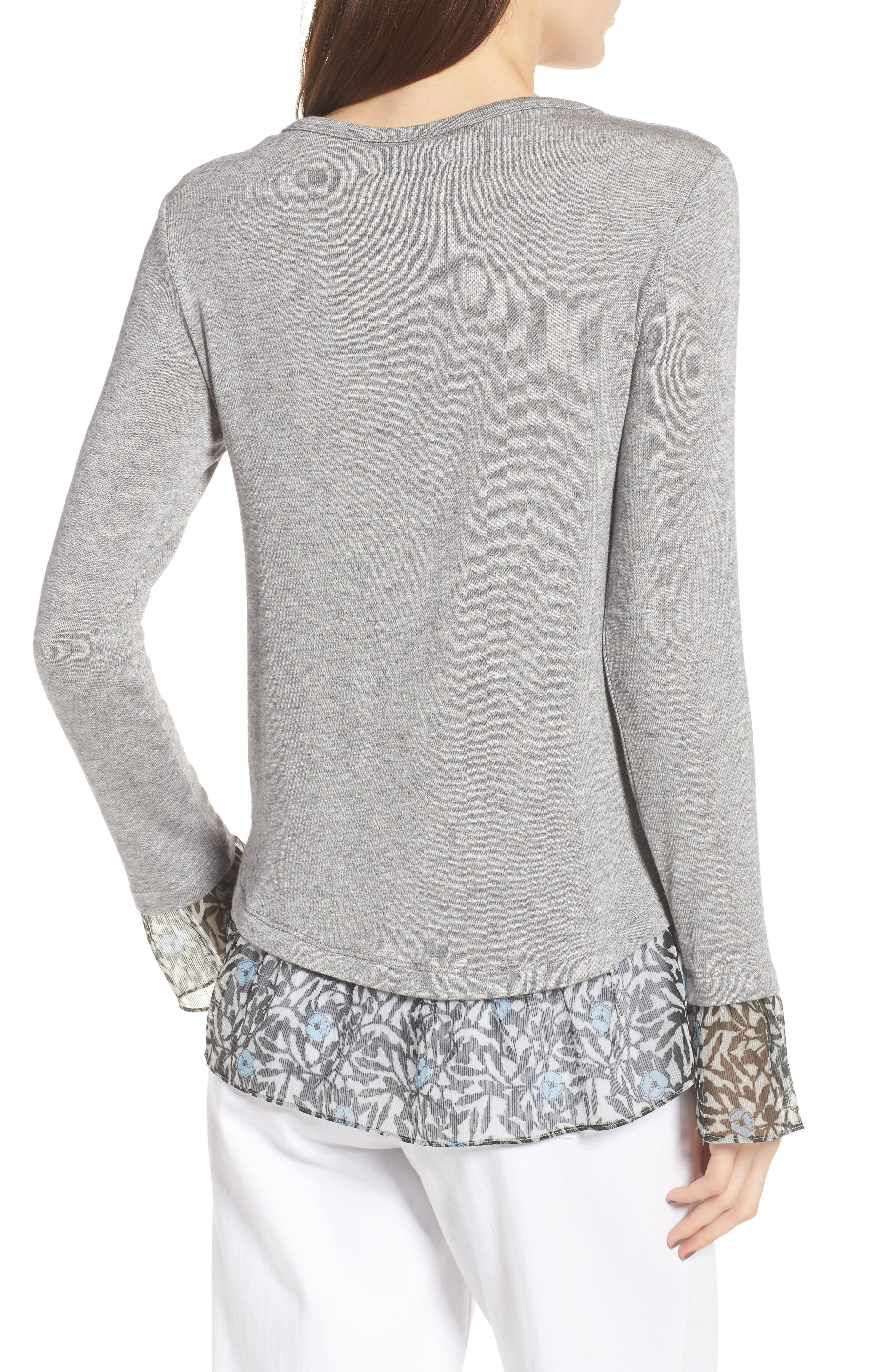 Taiko Lace Trim Top,                             Alternate thumbnail 2, color,                             Heather Grey