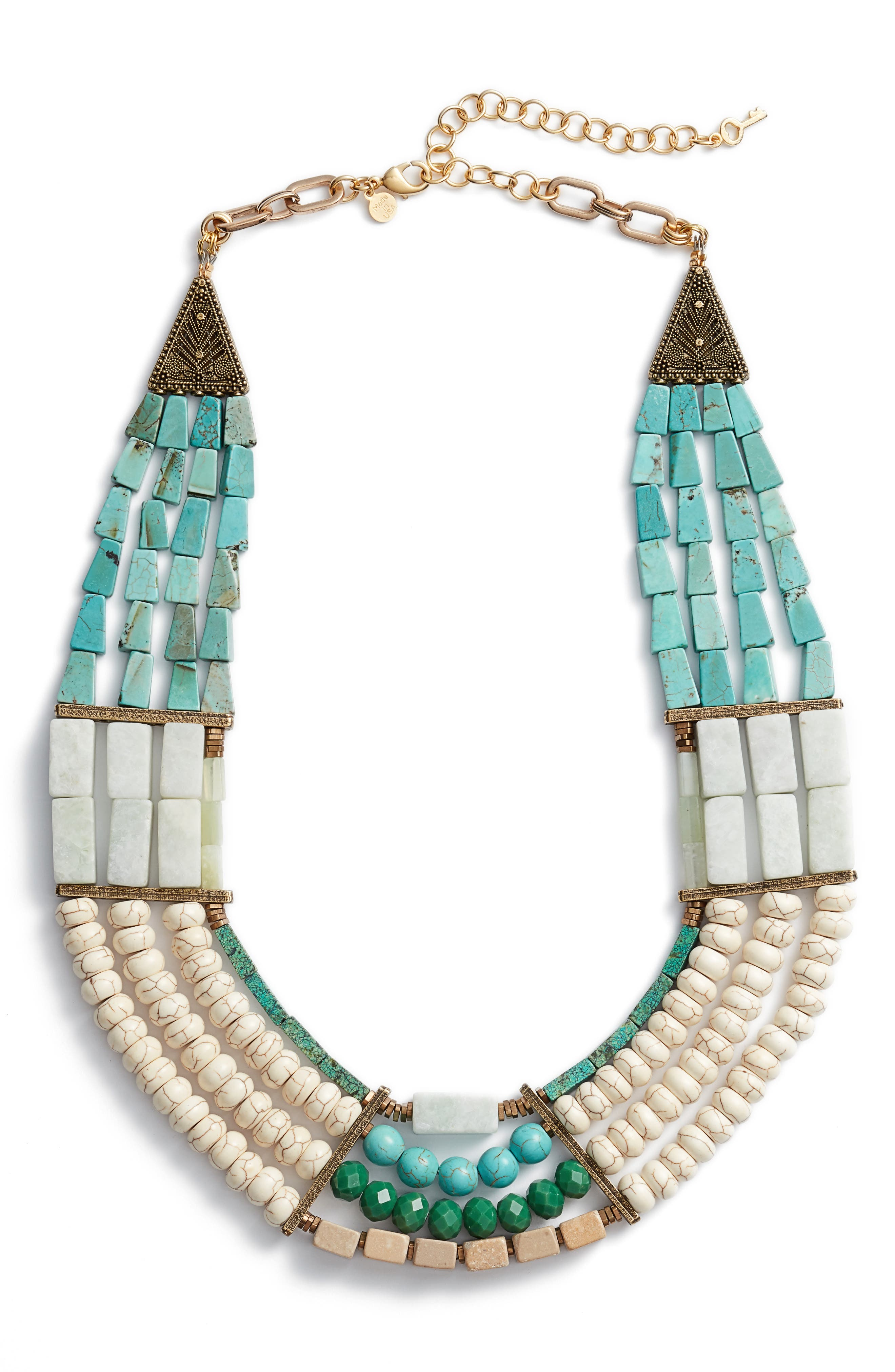 Priscilla 4-Row Statement Necklace,                             Main thumbnail 1, color,                             Turquoise