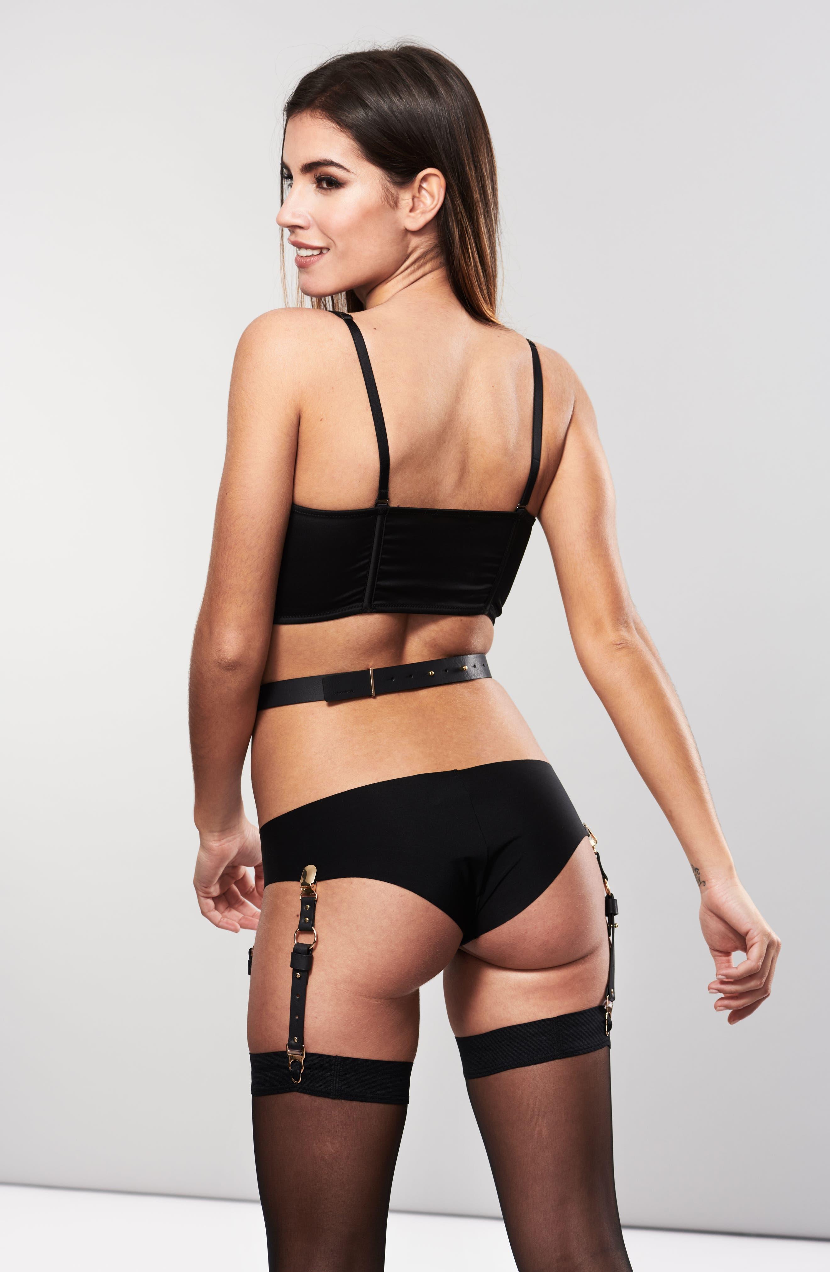 Maze Suspender Belt & Garter Straps,                             Alternate thumbnail 3, color,                             Black