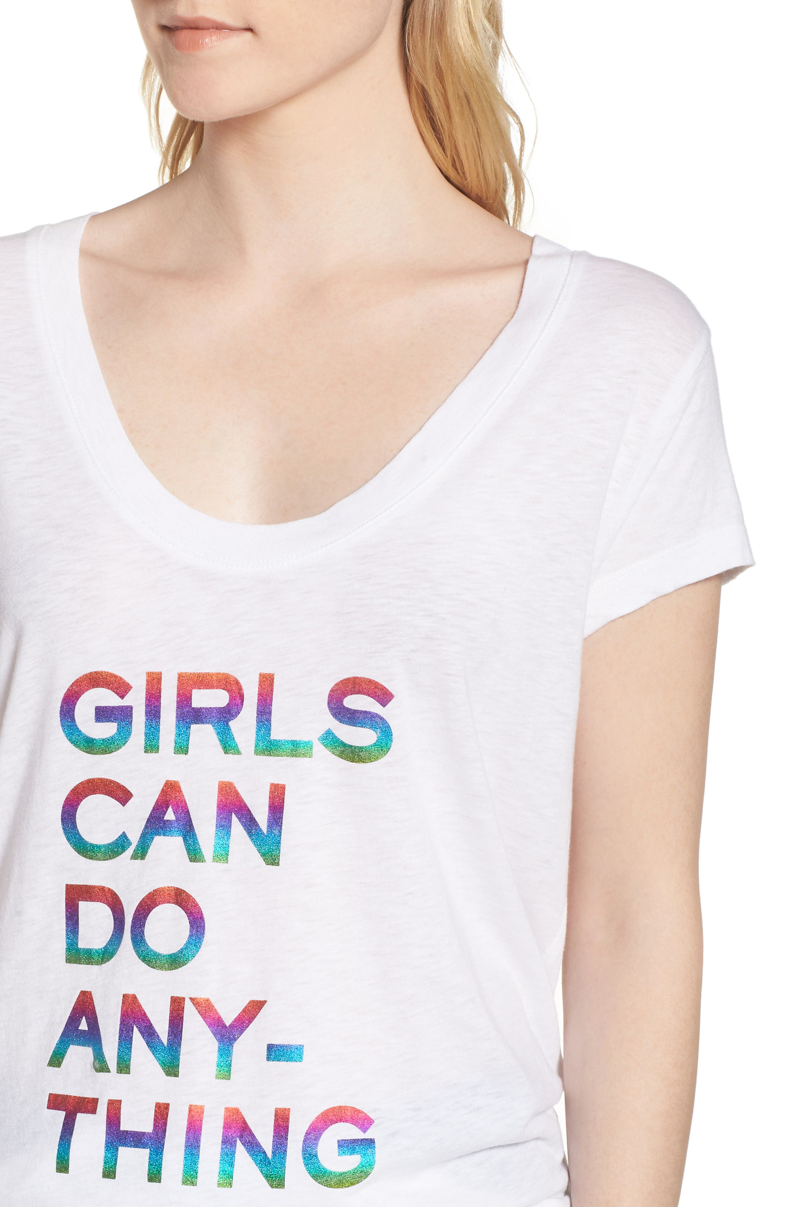Girls Can Do Anything Graphic Tee,                             Alternate thumbnail 4, color,                             Blanc