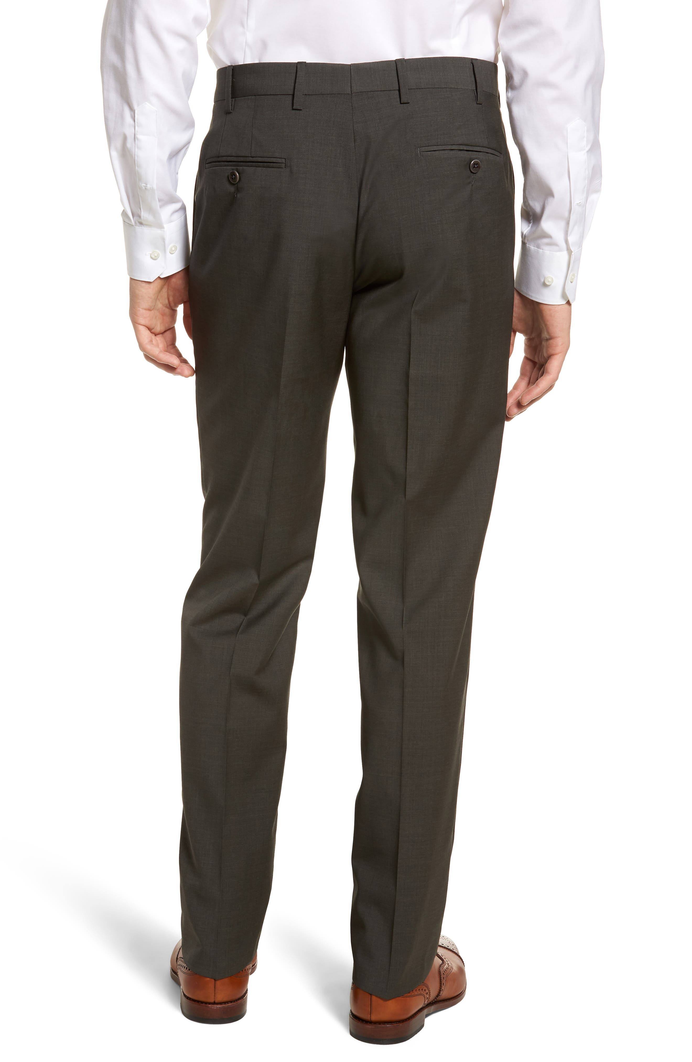 Devon Flat Front Solid Wool Trousers,                             Alternate thumbnail 2, color,                             Olive