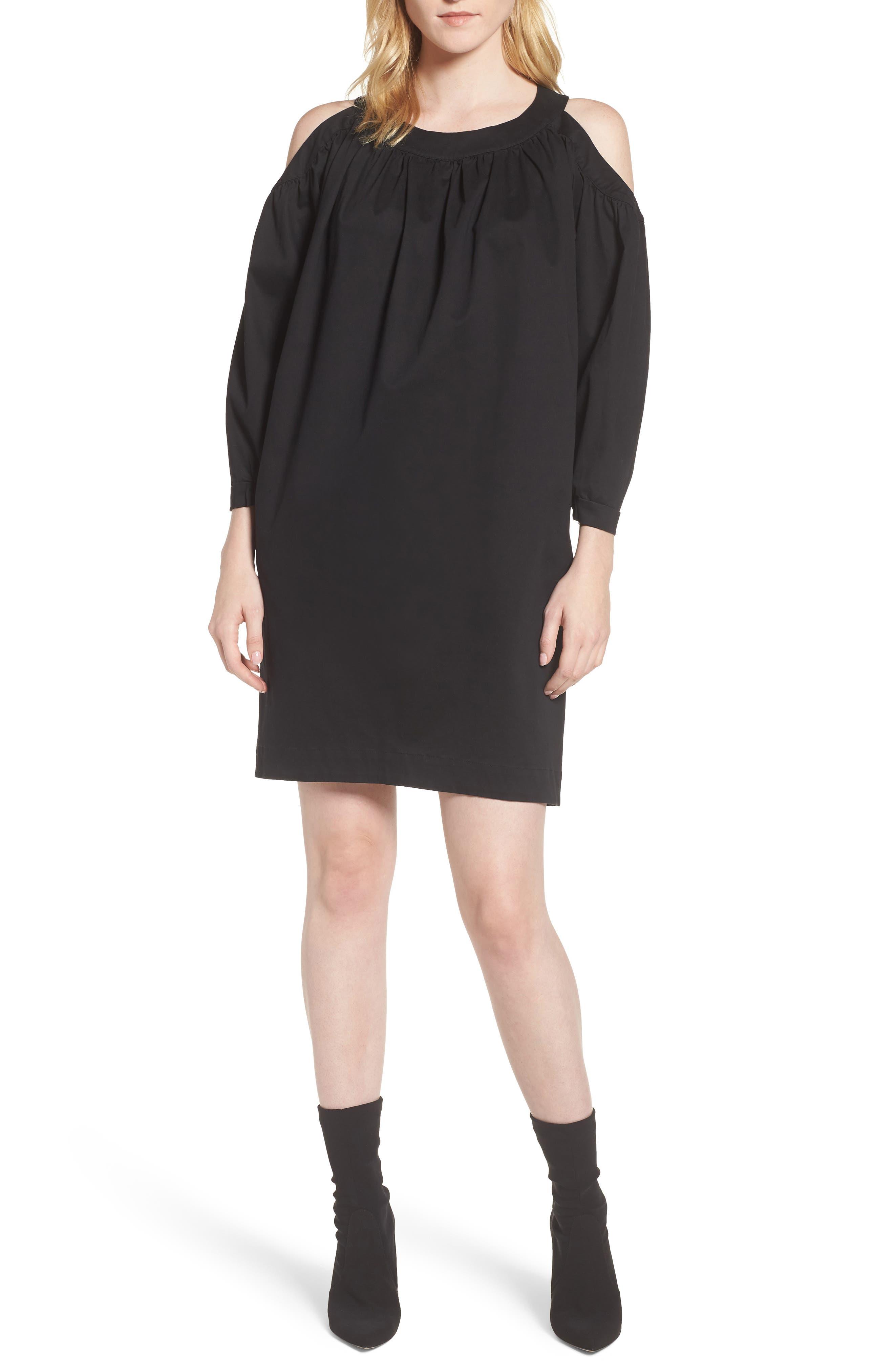 Cold Shoulder Dress,                             Main thumbnail 1, color,                             Black