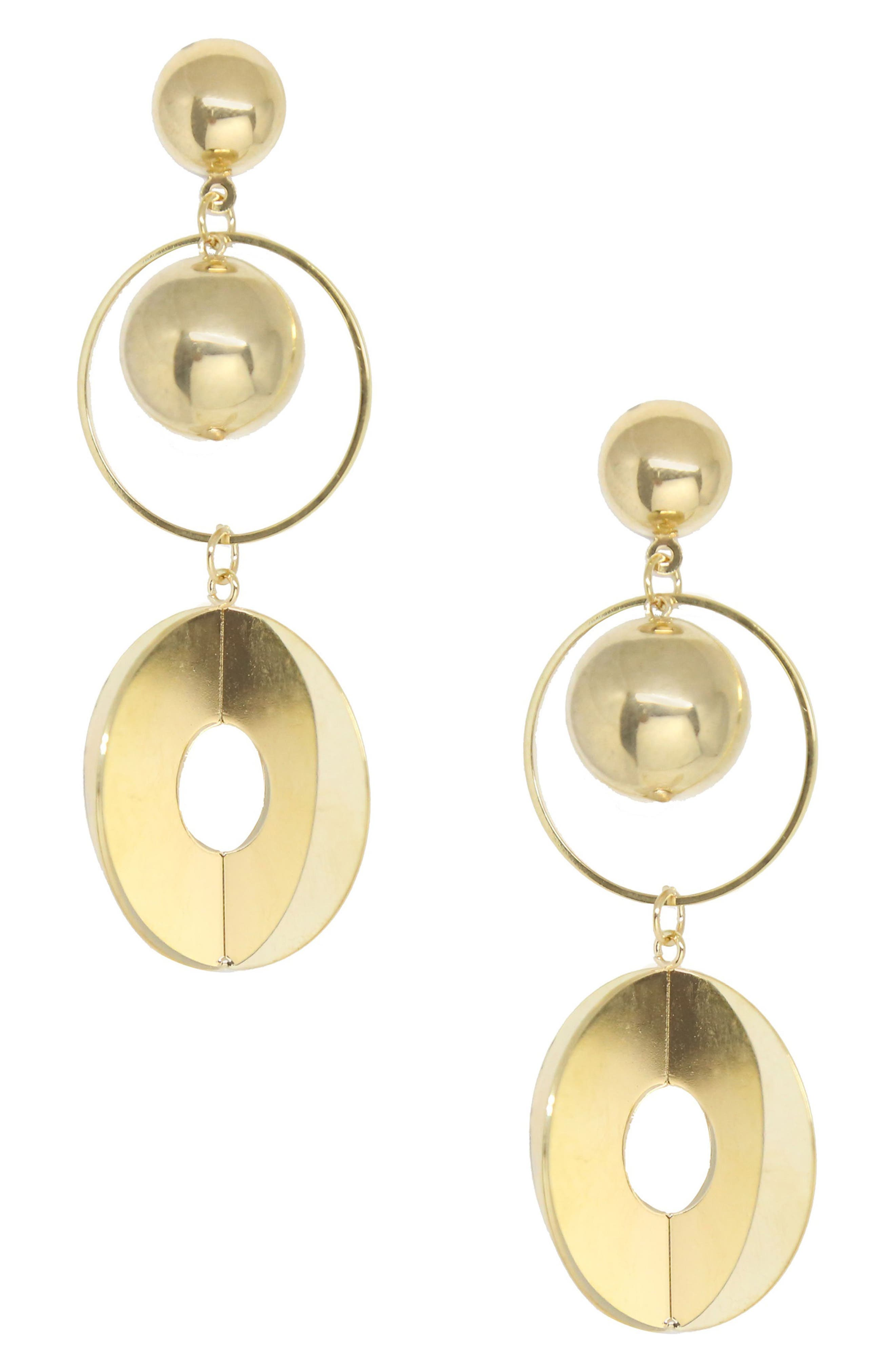 Gold Sphere Drop Earrings,                             Main thumbnail 1, color,                             Gold