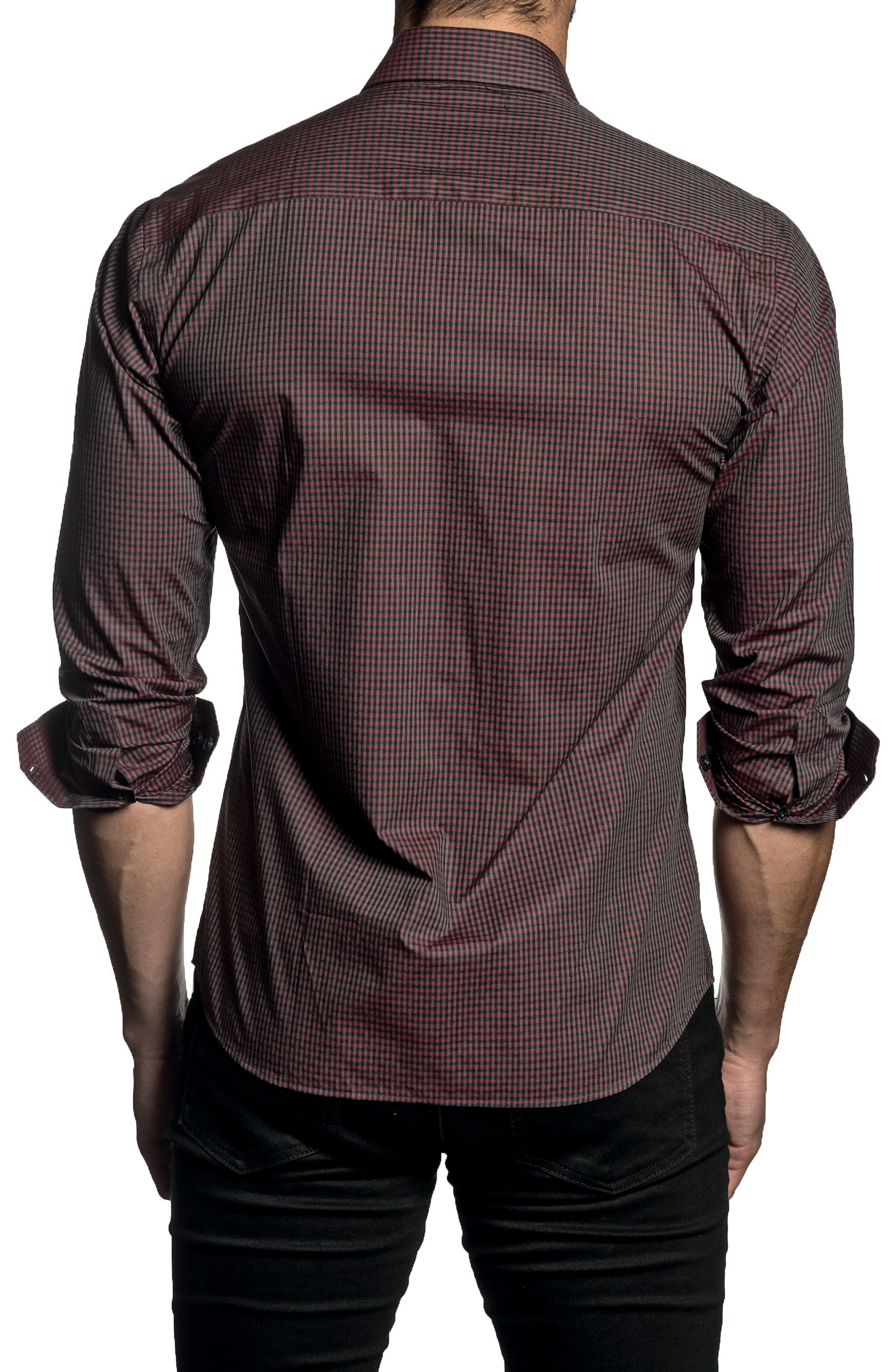Trim Fit Check Sport Shirt,                             Alternate thumbnail 2, color,                             Red/ Grey Melange Check