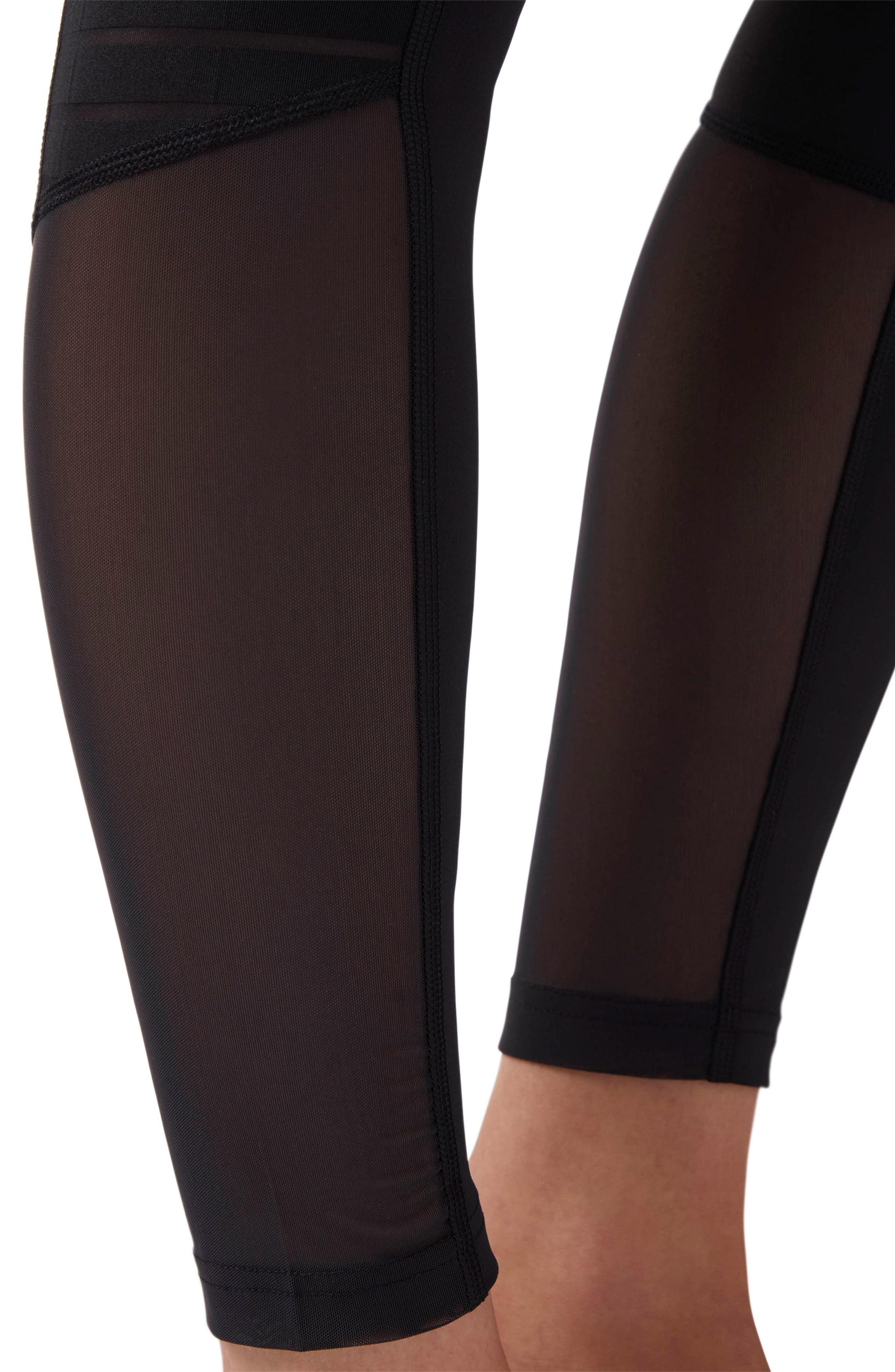 Mesh Panel Leggings,                             Alternate thumbnail 4, color,                             Black