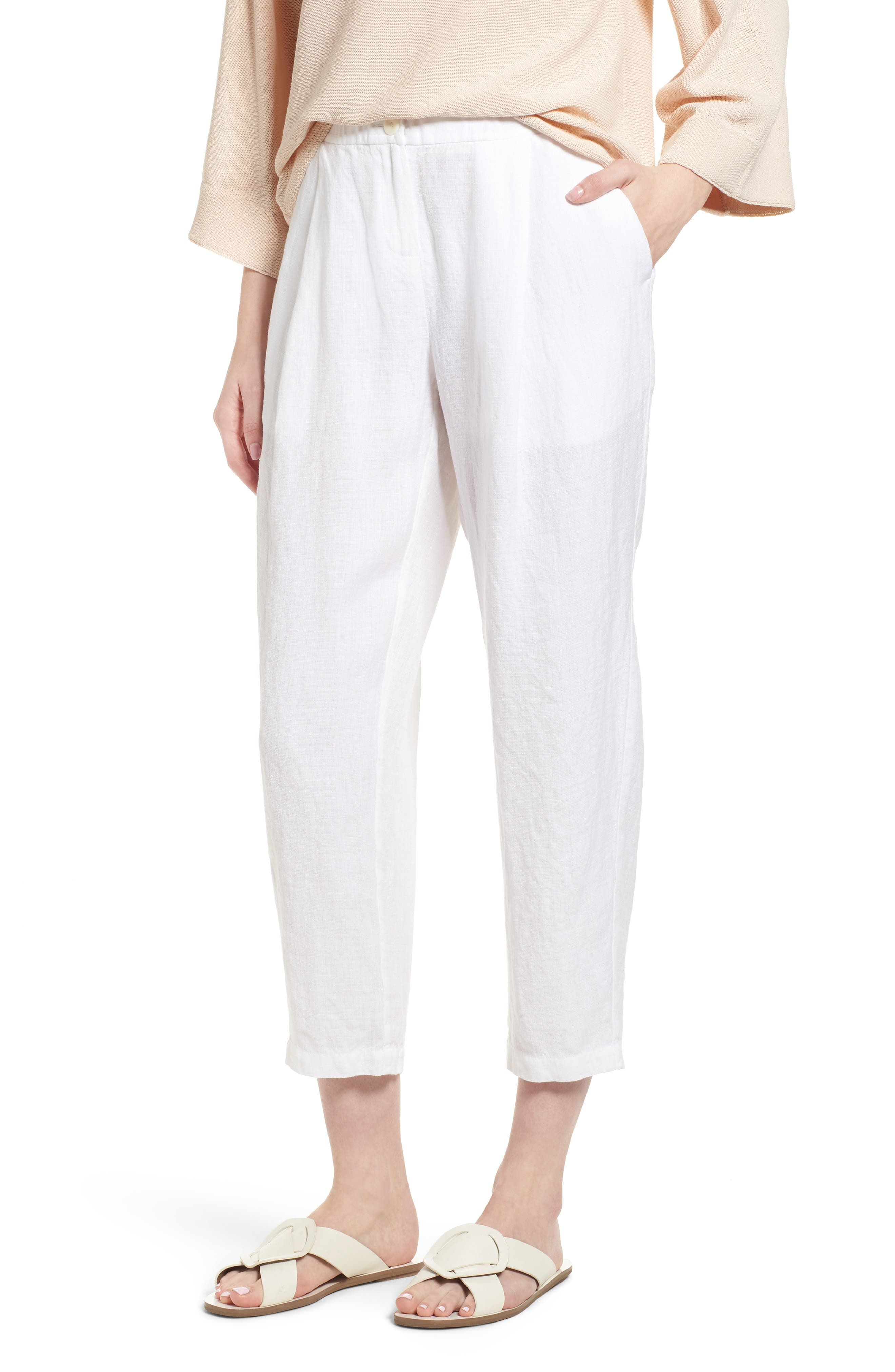 Pleated Linen Blend Ankle Trousers,                         Main,                         color, White