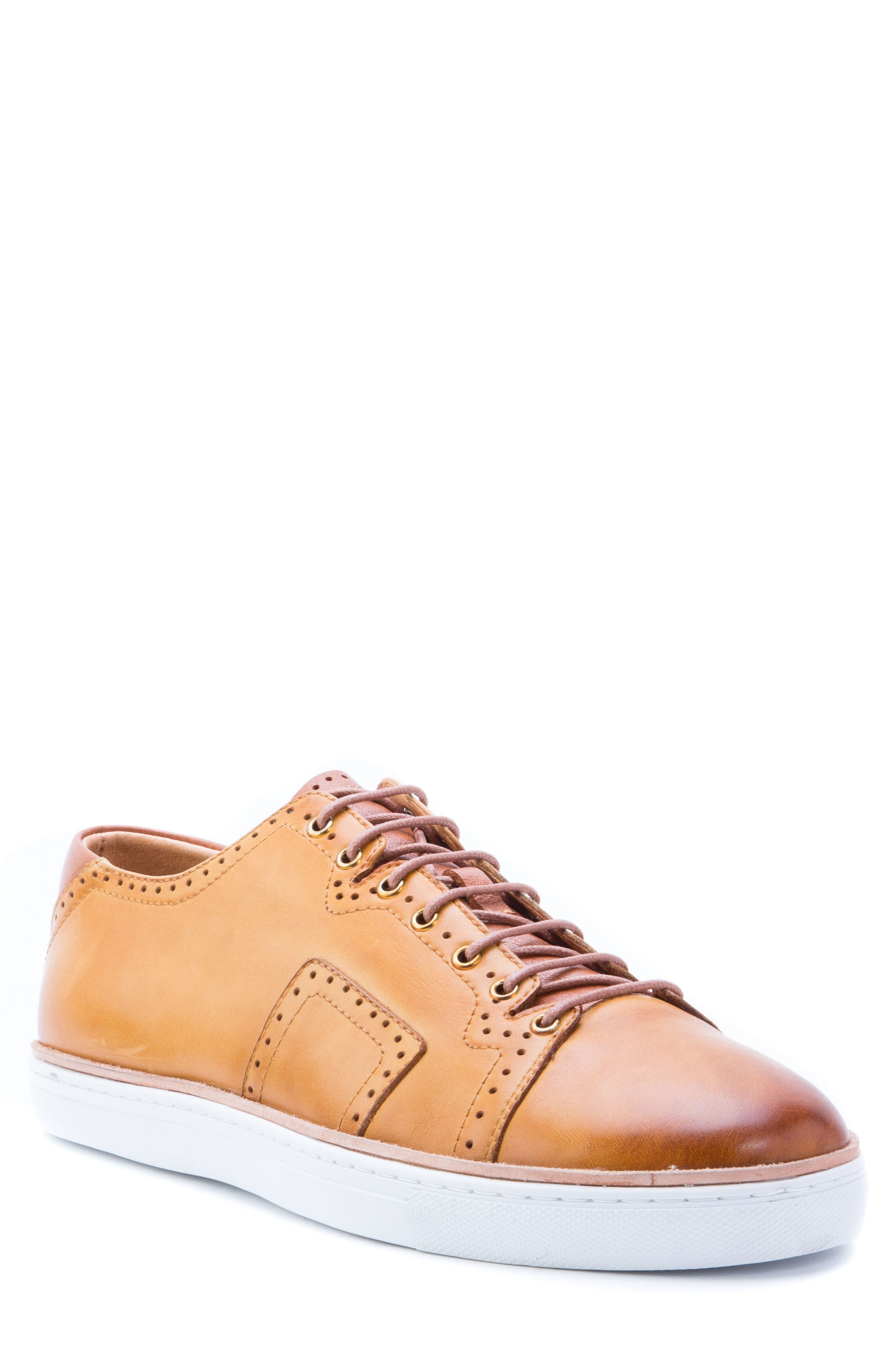 Marti Low Top Sneaker,                             Main thumbnail 1, color,                             Cognac Leather
