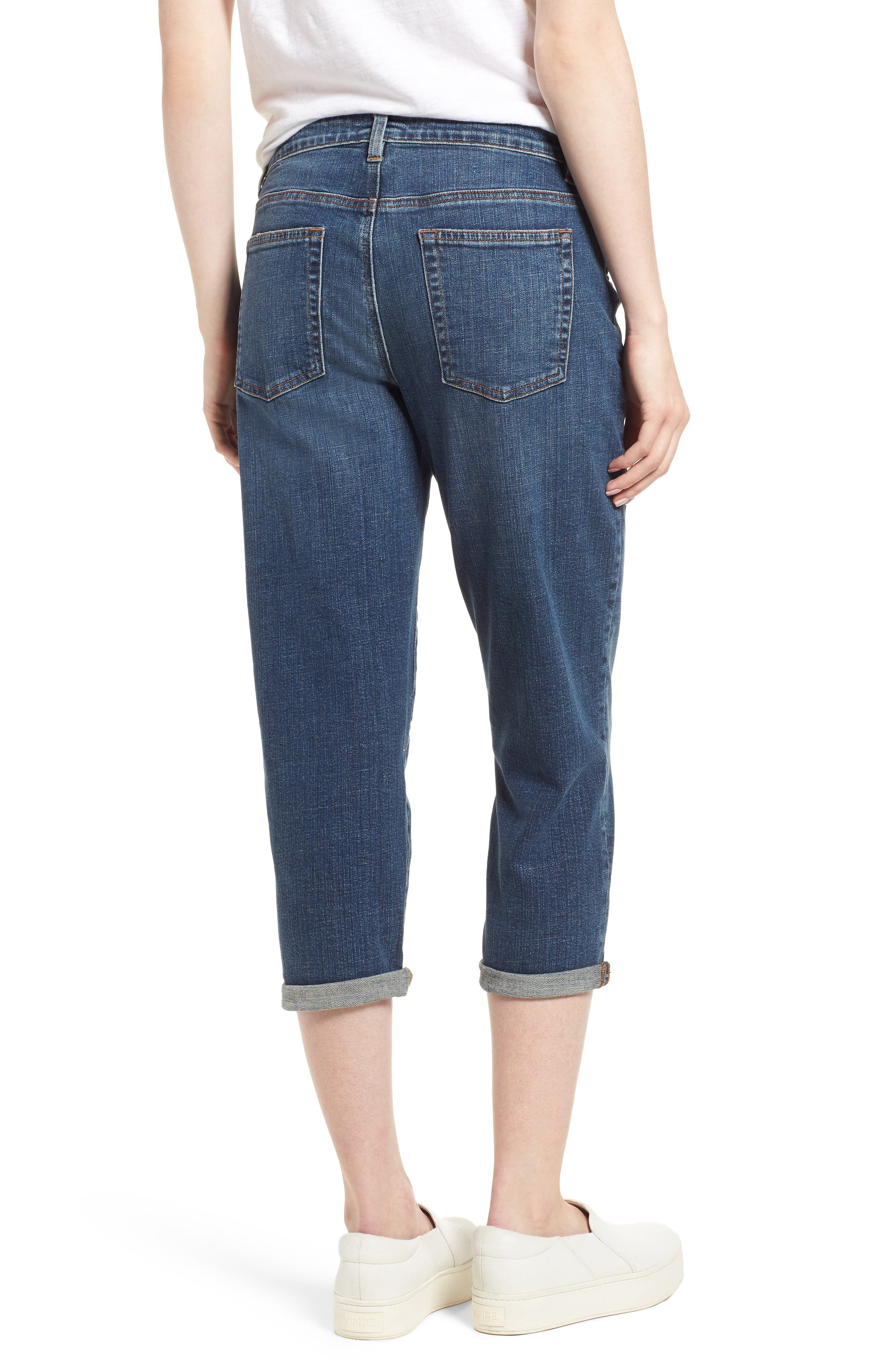 Tapered Stretch Organic Cotton Crop Jeans,                             Alternate thumbnail 2, color,                             Abraded Aged Indigo