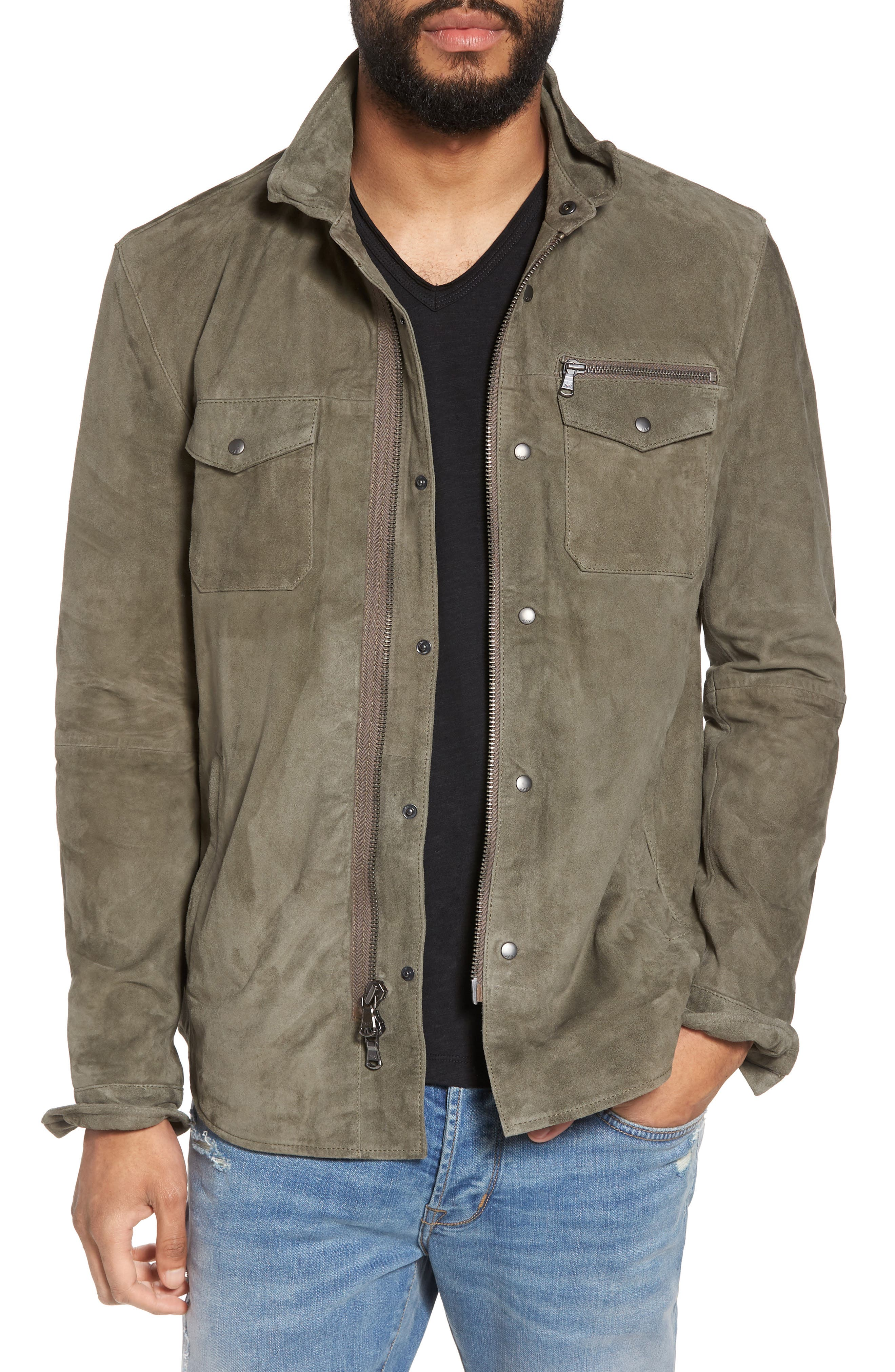 John Varvatos Star USA Suede Shirt Jacket