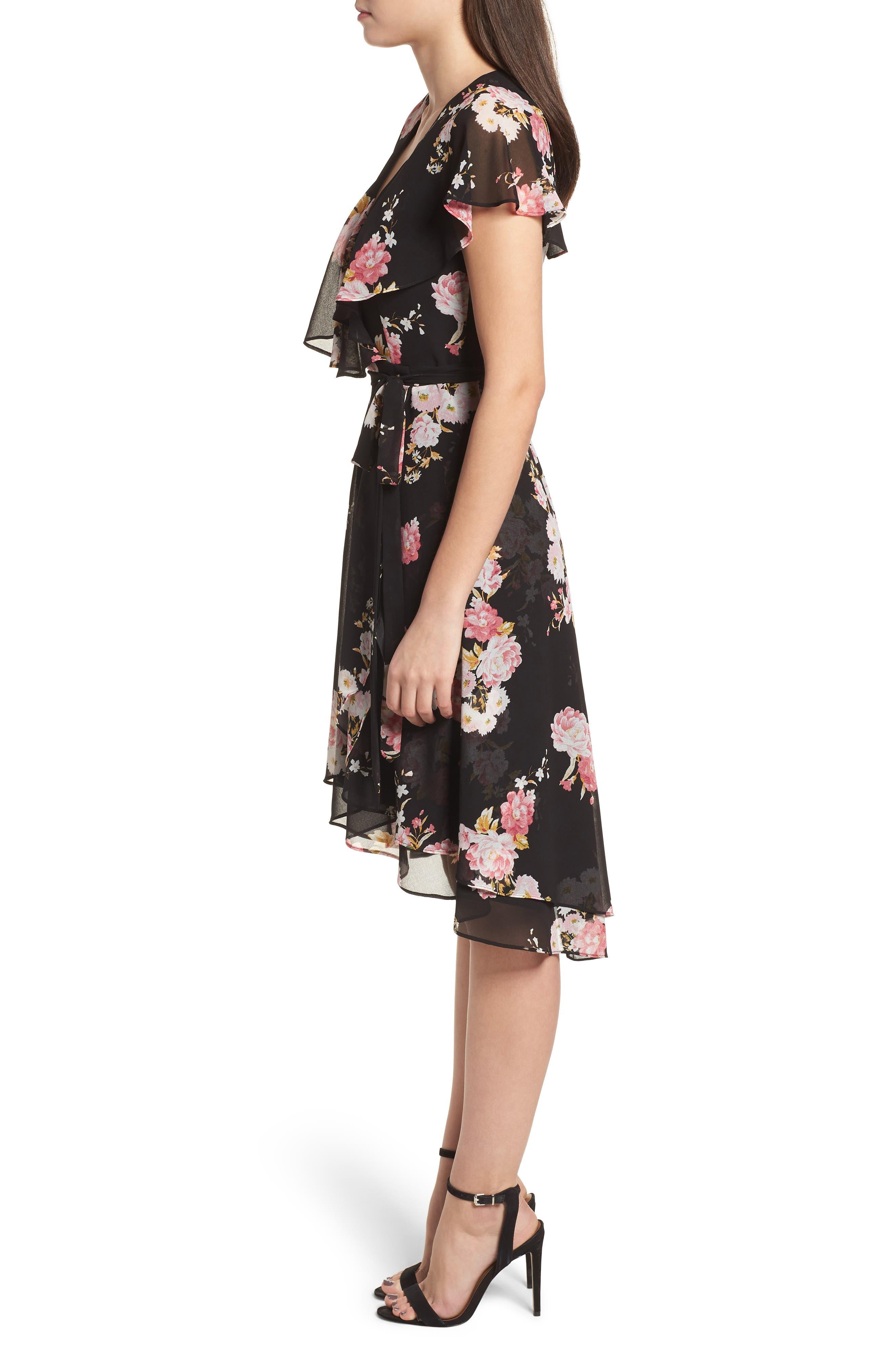 Polermo Wrap Midi Dress,                             Alternate thumbnail 3, color,                             Black Floral