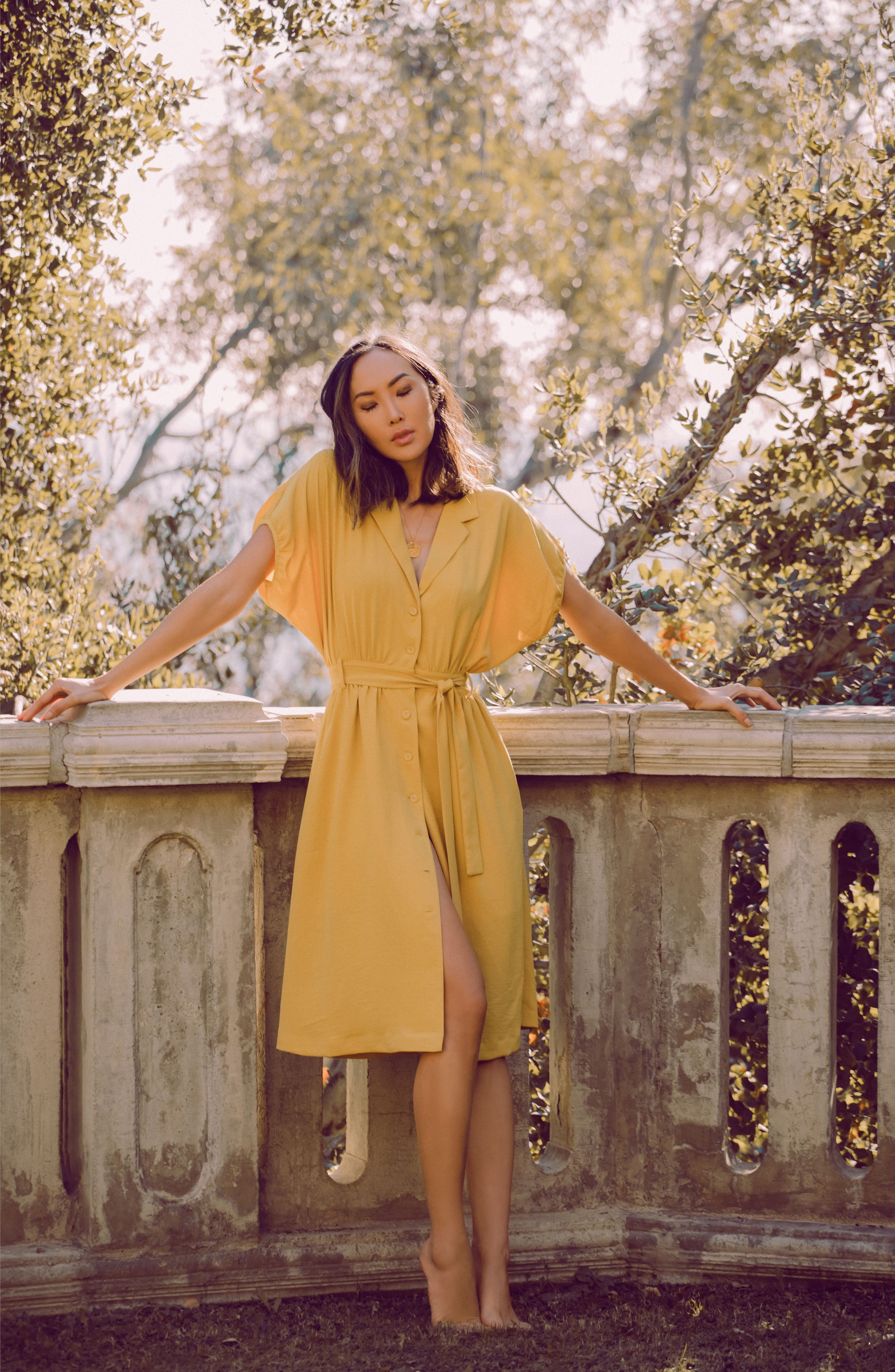 Chriselle x J.O.A. Cocoon Sleeve Dress,                             Alternate thumbnail 2, color,                             Roman Gold