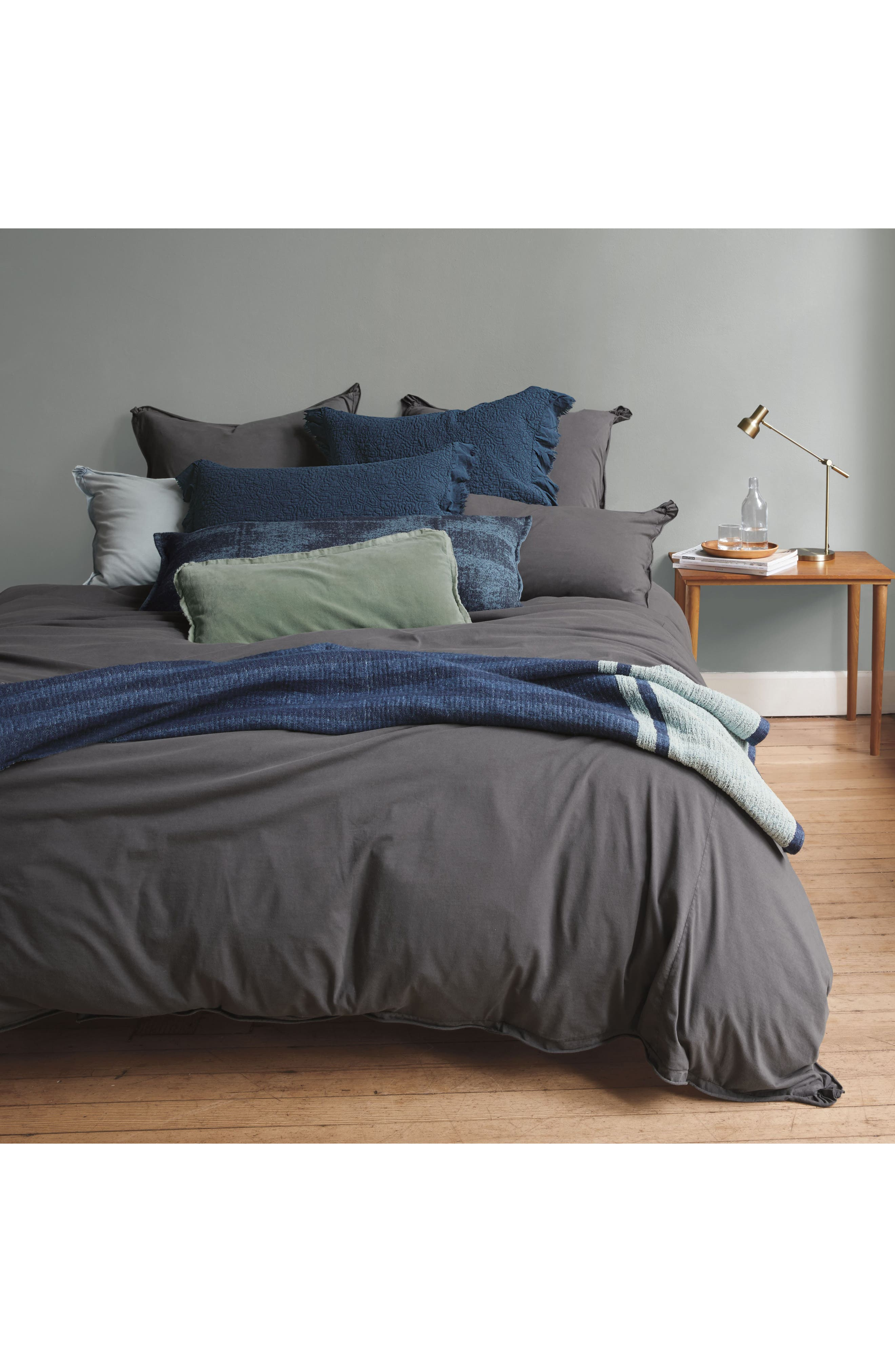 Stonewash Jersey Duvet Cover,                         Main,                         color, Grey Onyx